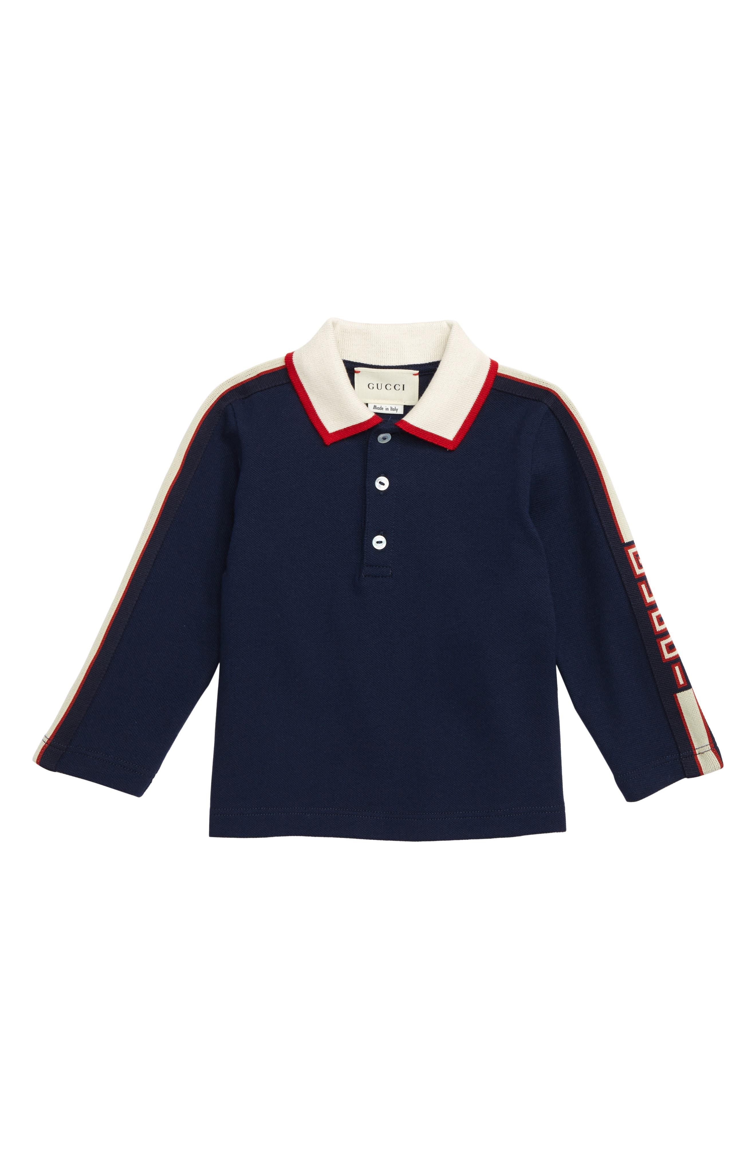 Infant Boys Gucci Long Sleeve Stripe Cotton Pique Polo Shirt Size 1218M  Blue