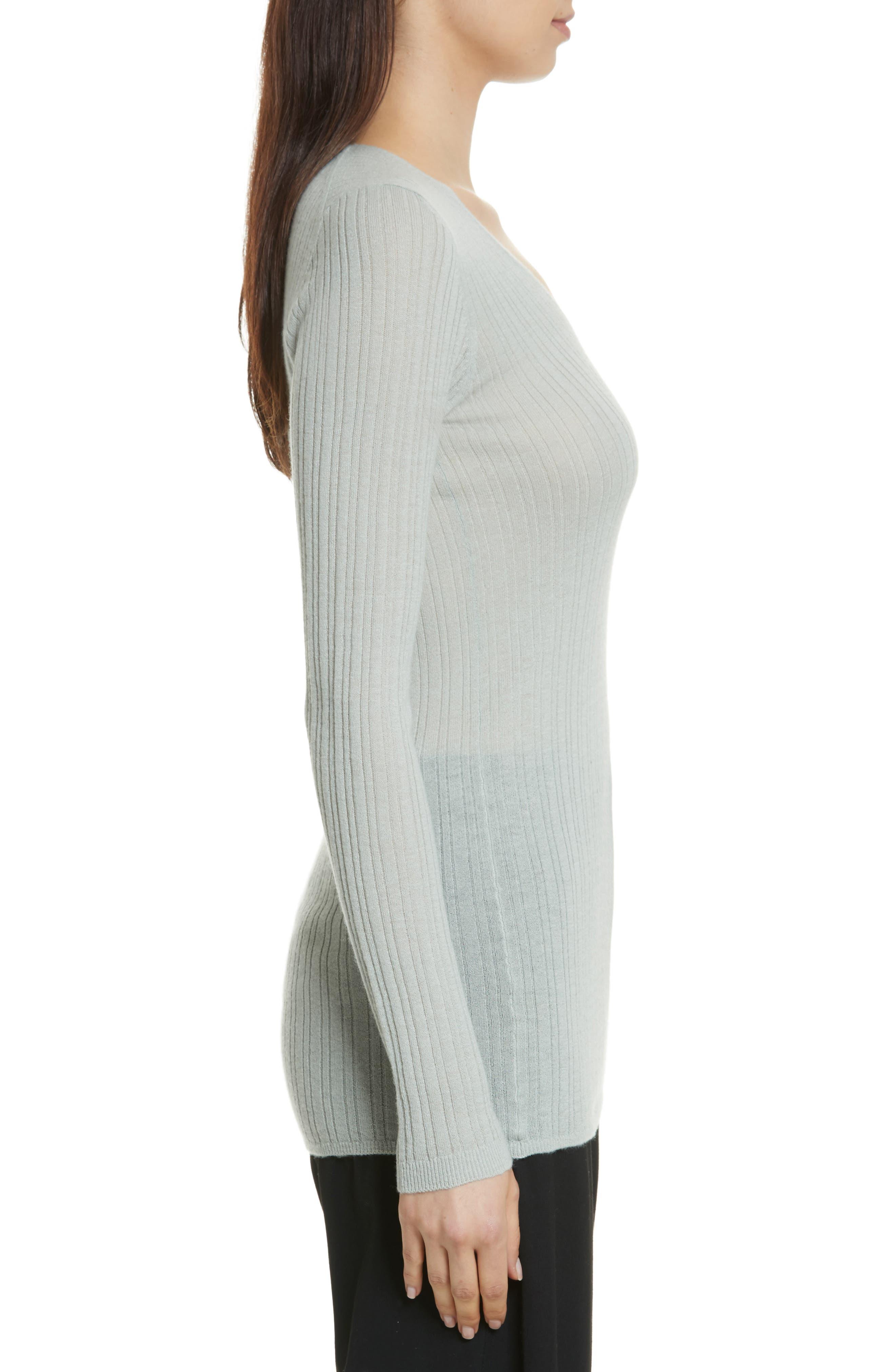 Ribbed Cashmere V-Neck Sweater,                             Alternate thumbnail 9, color,