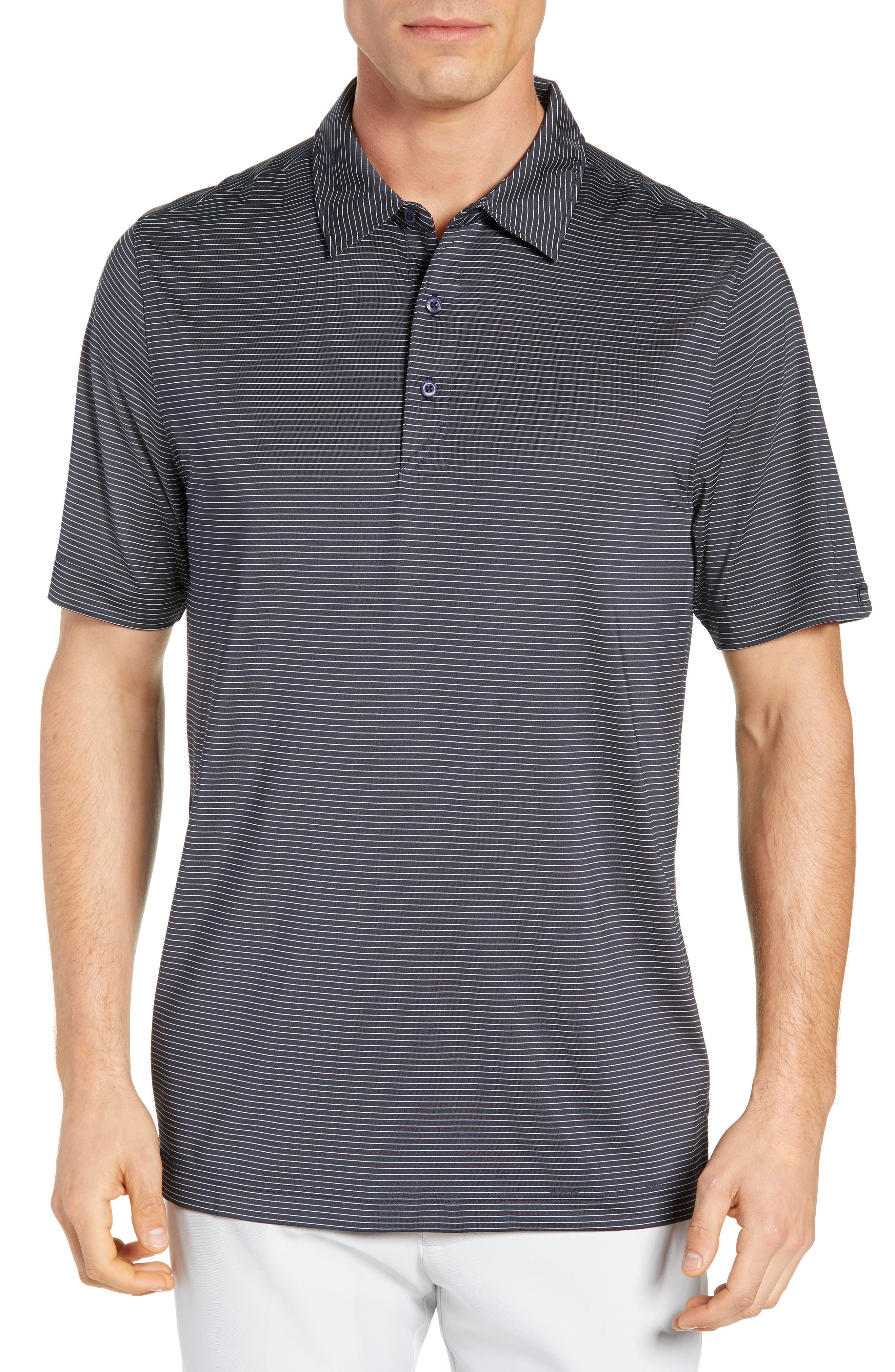 CUTTER & BUCK Prevail Regular Fit Stripe Polo, Main, color, LIBERTY NAVY