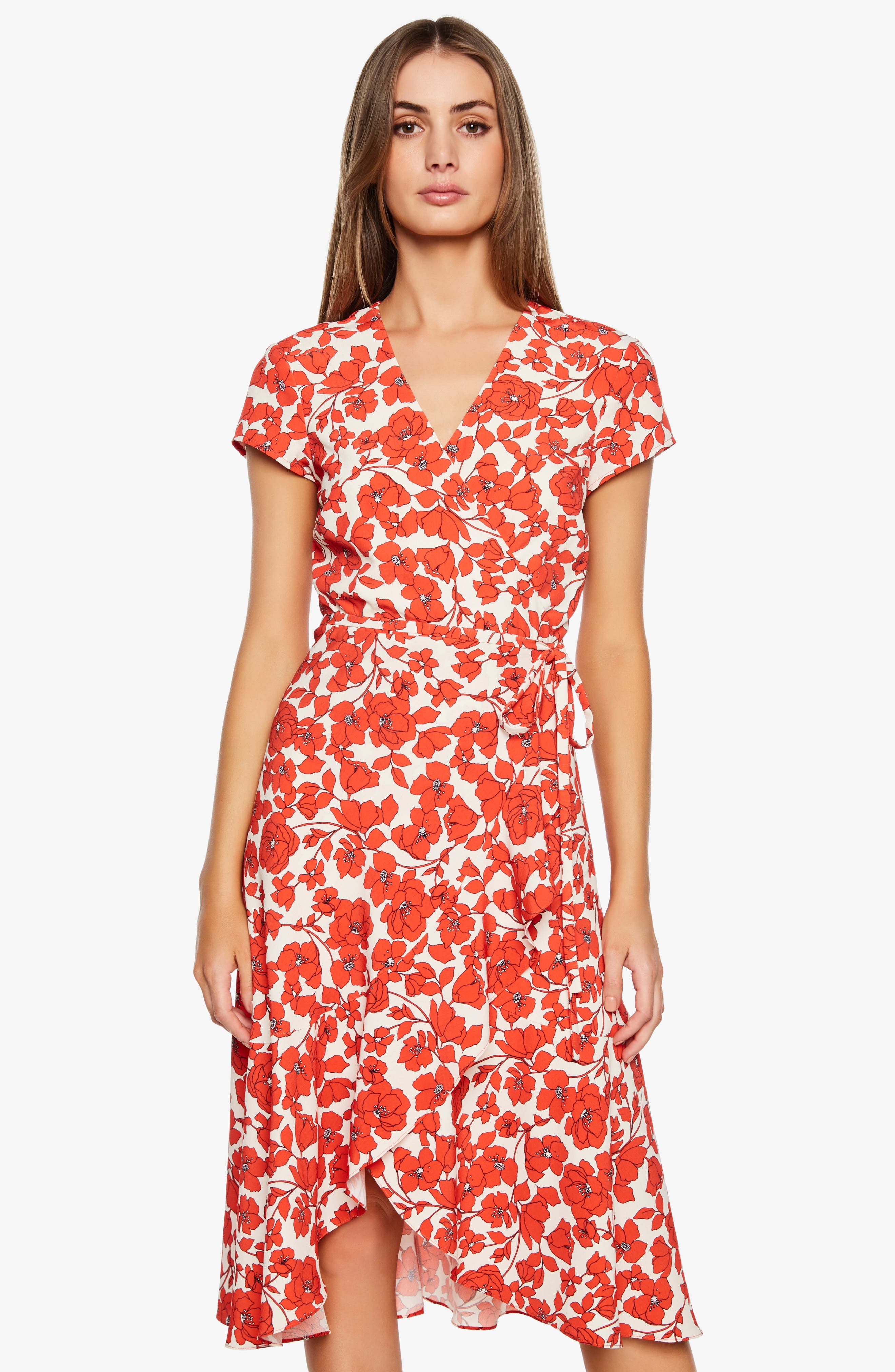 BARDOT,                             Fiesta Floral Midi Dress,                             Alternate thumbnail 6, color,                             ORANGE FLORAL