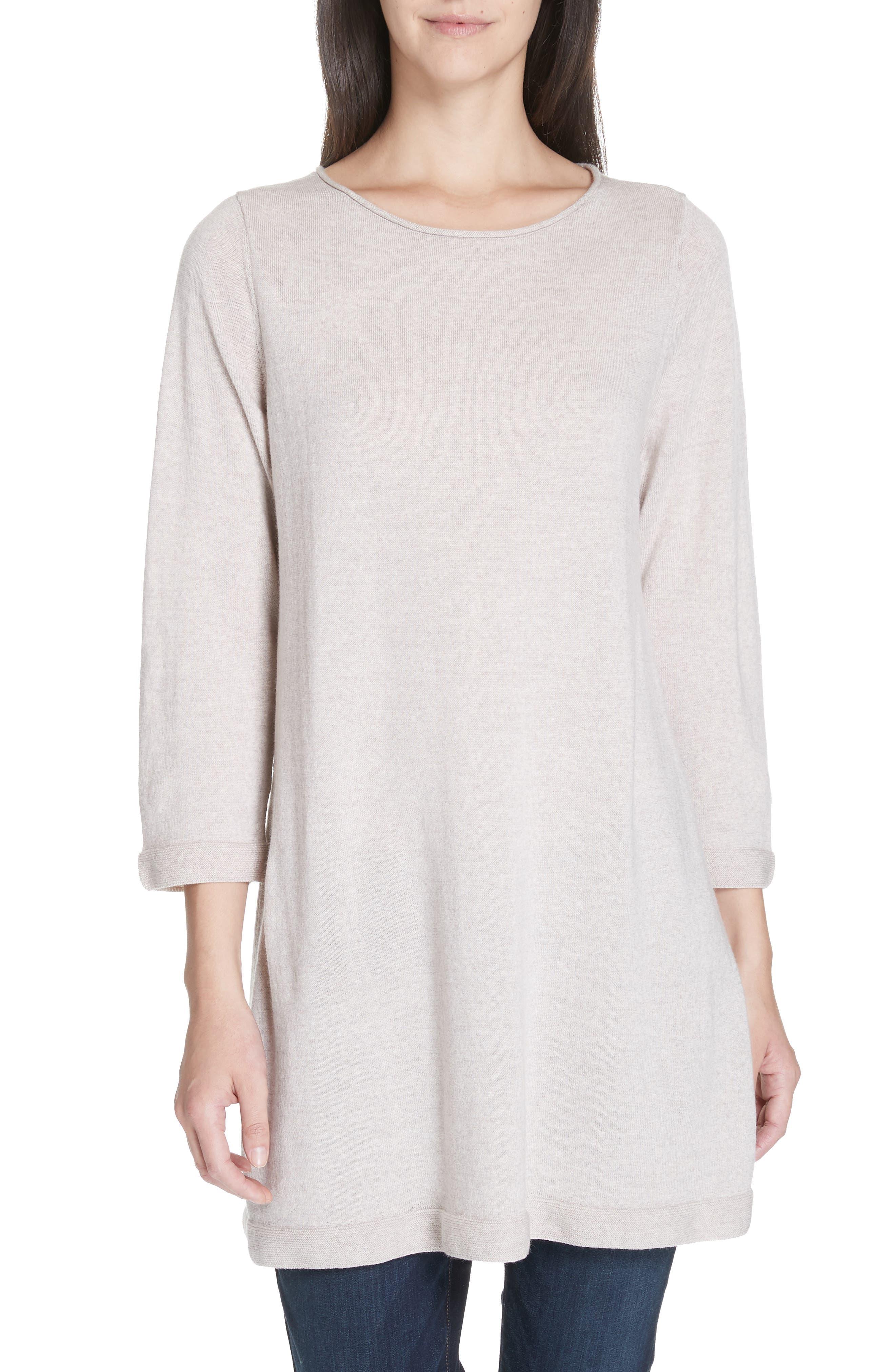 Eileen Fisher Merino Wool Jersey Tunic Sweater, Beige