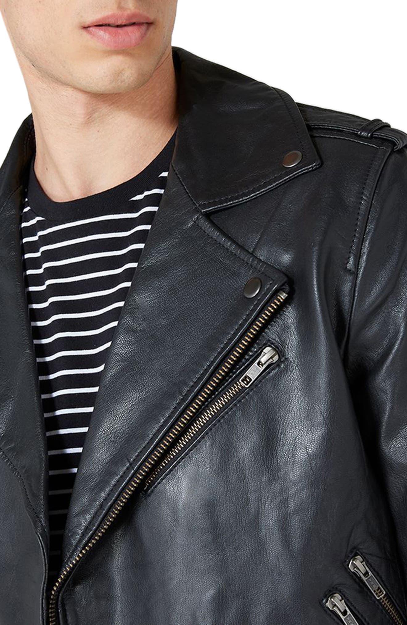 Leather Biker Jacket,                             Alternate thumbnail 3, color,                             001