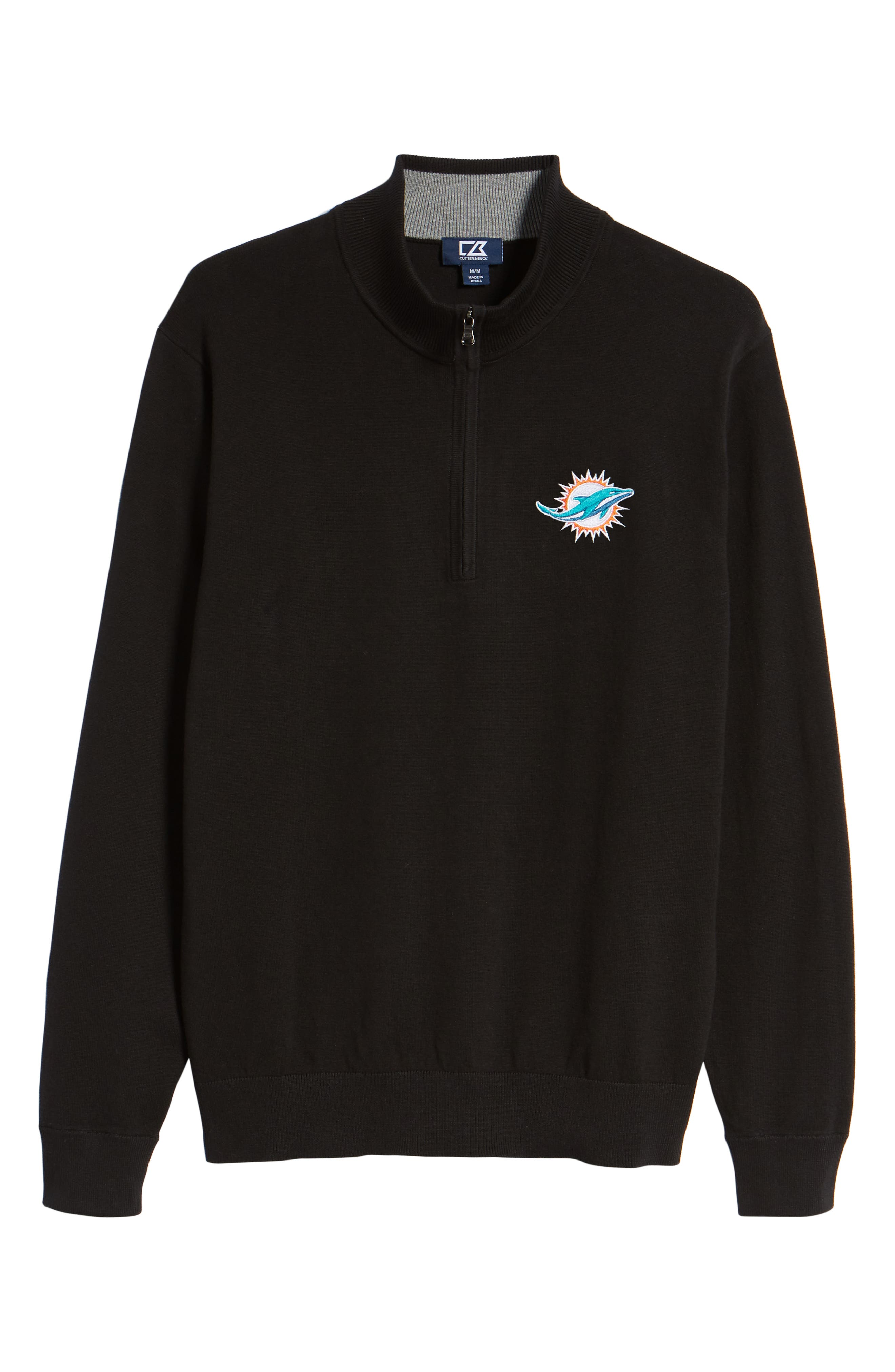 Miami Dolphins - Lakemont Regular Fit Quarter Zip Sweater,                             Alternate thumbnail 6, color,                             BLACK