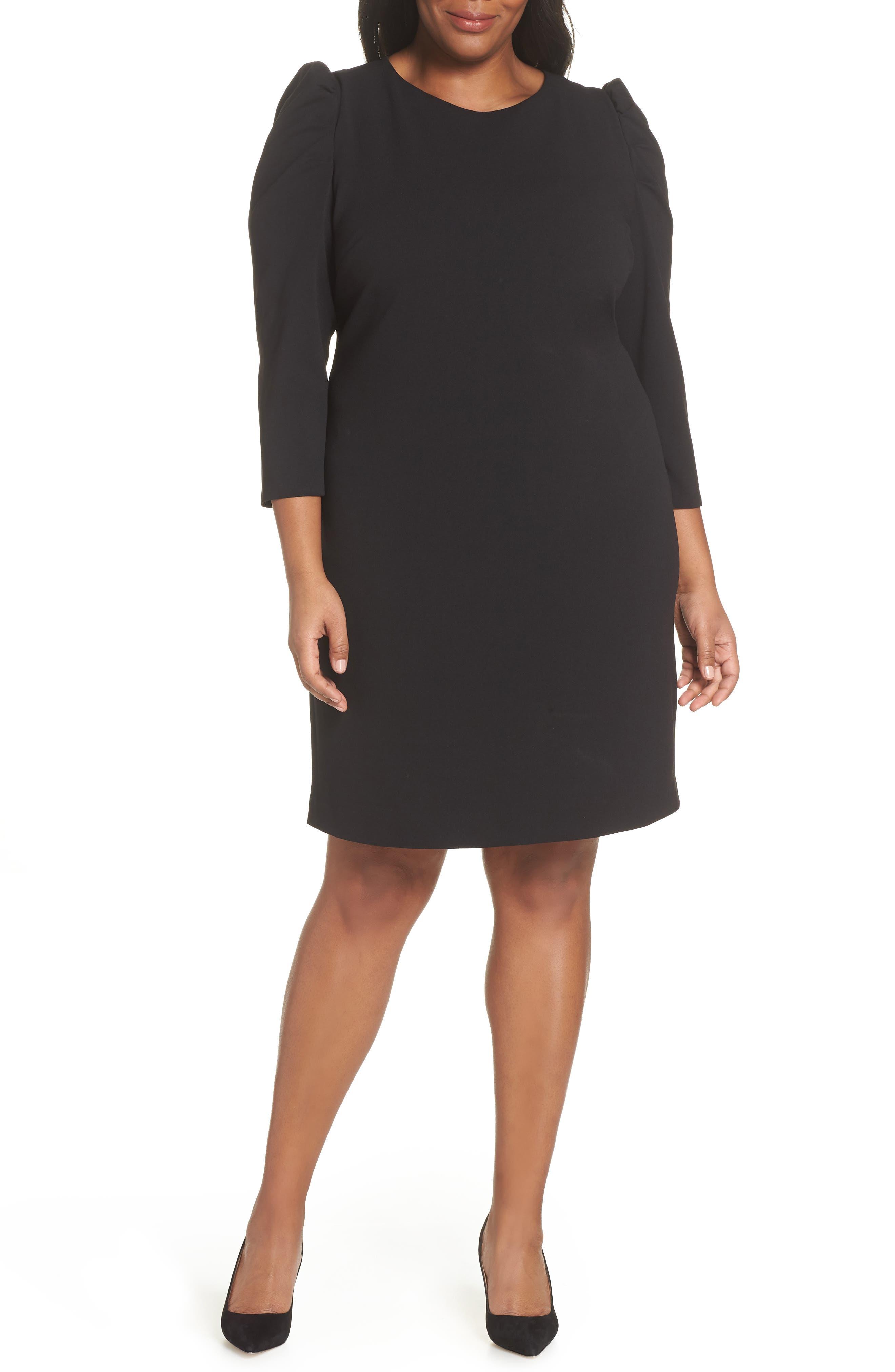 Plus Size Vince Camuto Puff Shoulder Shift Dress, Black