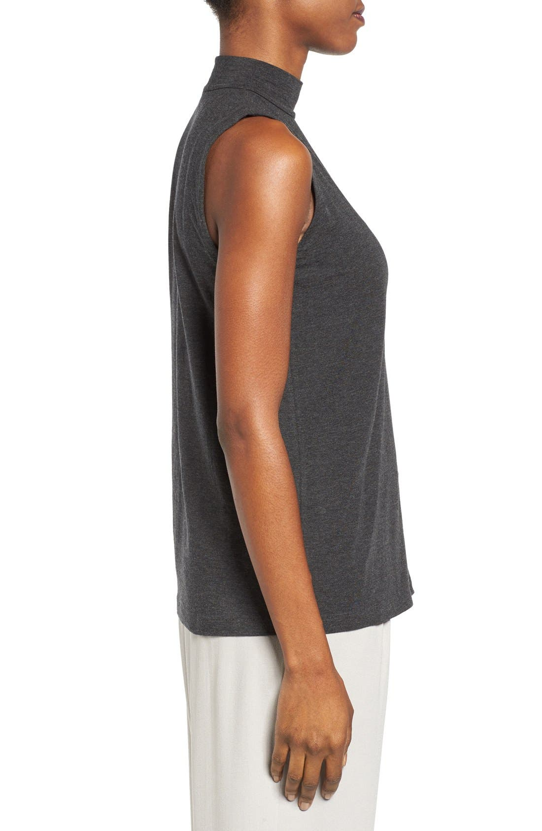 EILEEN FISHER,                             Lightweight Tencel<sup>®</sup> Lyocell Stretch Jersey Top,                             Alternate thumbnail 3, color,                             001