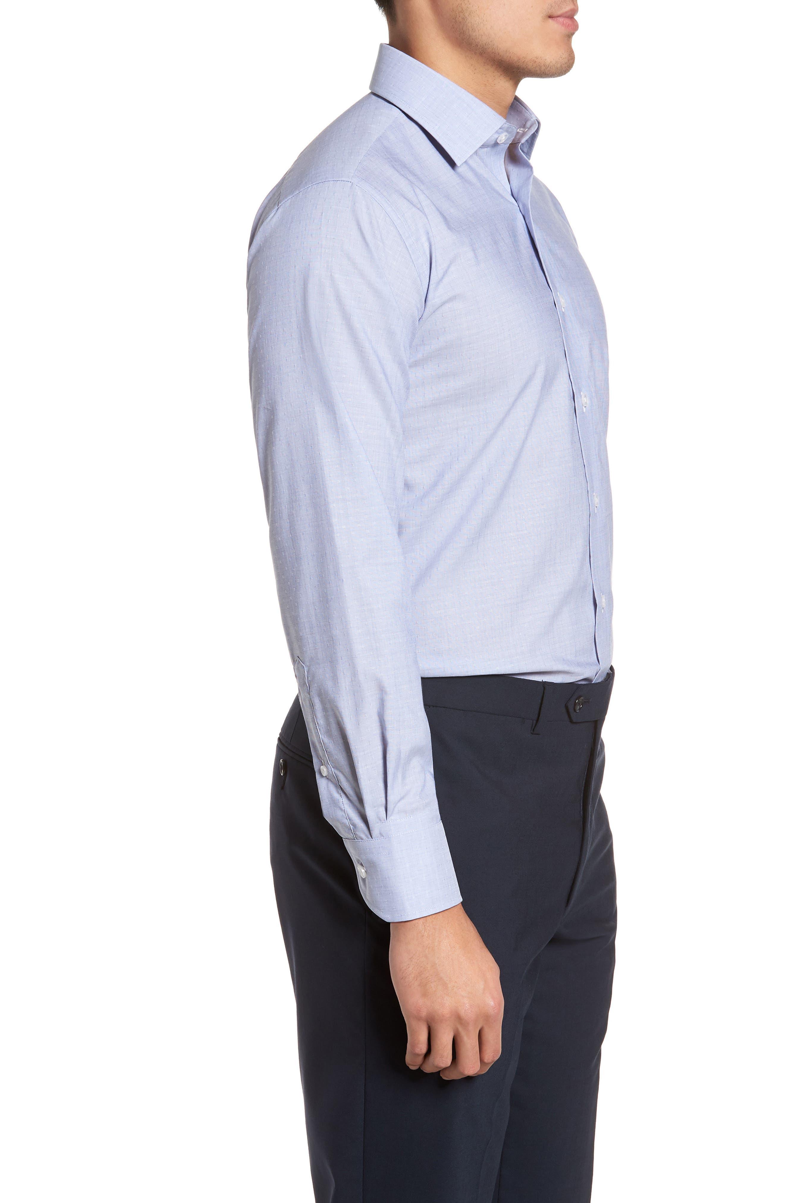 Trim Fit Dot Dress Shirt,                             Alternate thumbnail 4, color,                             BLUE