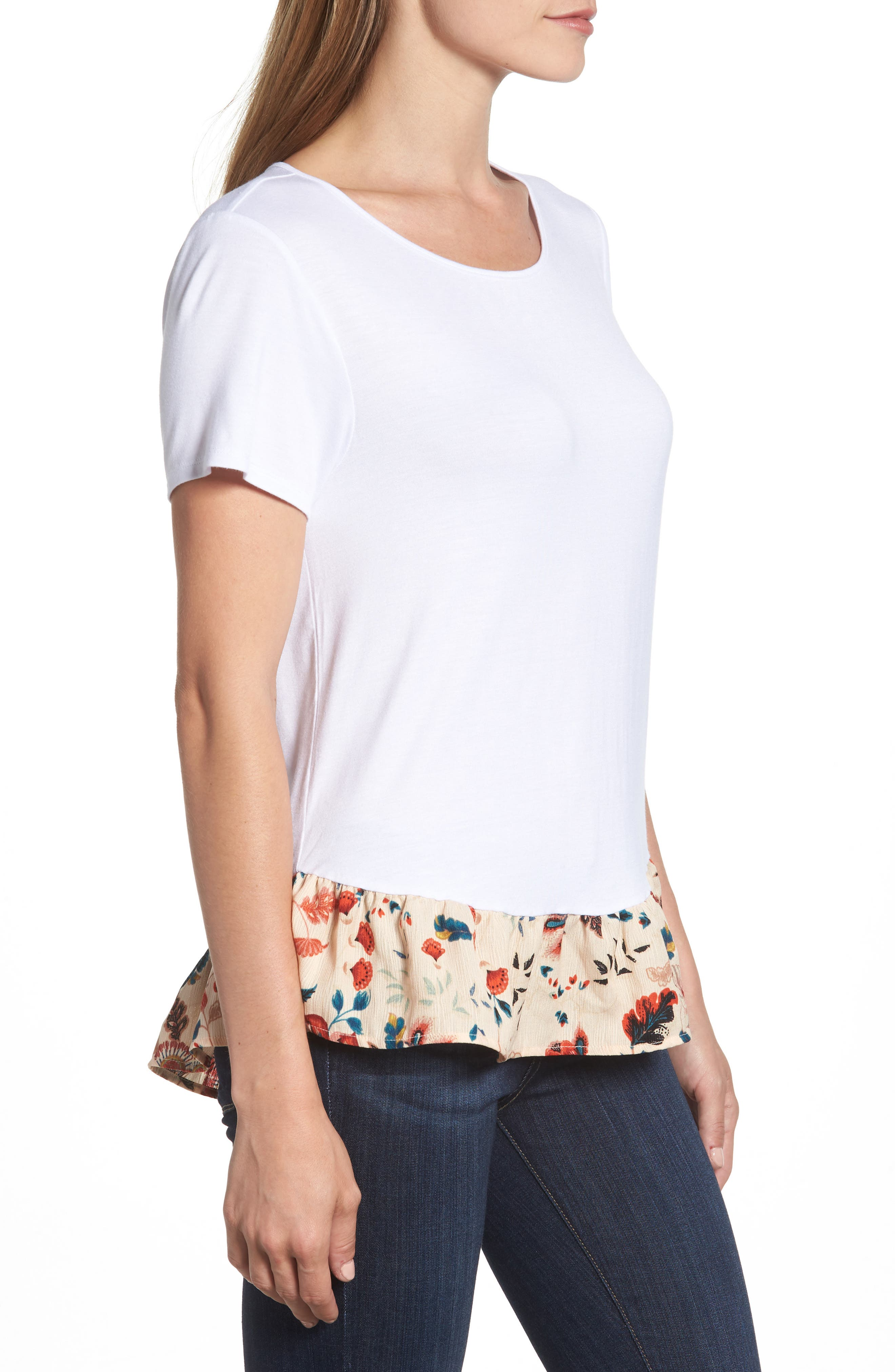 Ruffle Hem Tee,                             Alternate thumbnail 6, color,