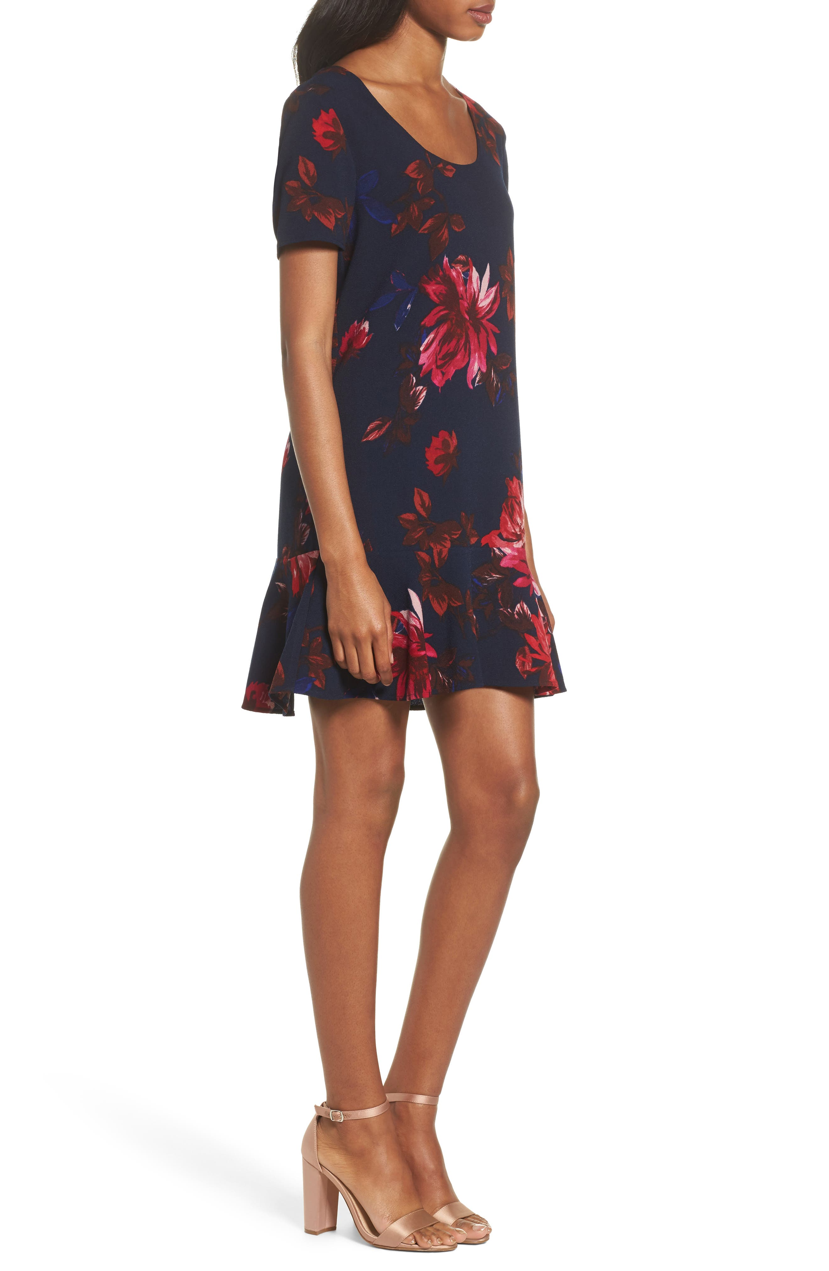 Floral Shift Dress,                             Alternate thumbnail 3, color,