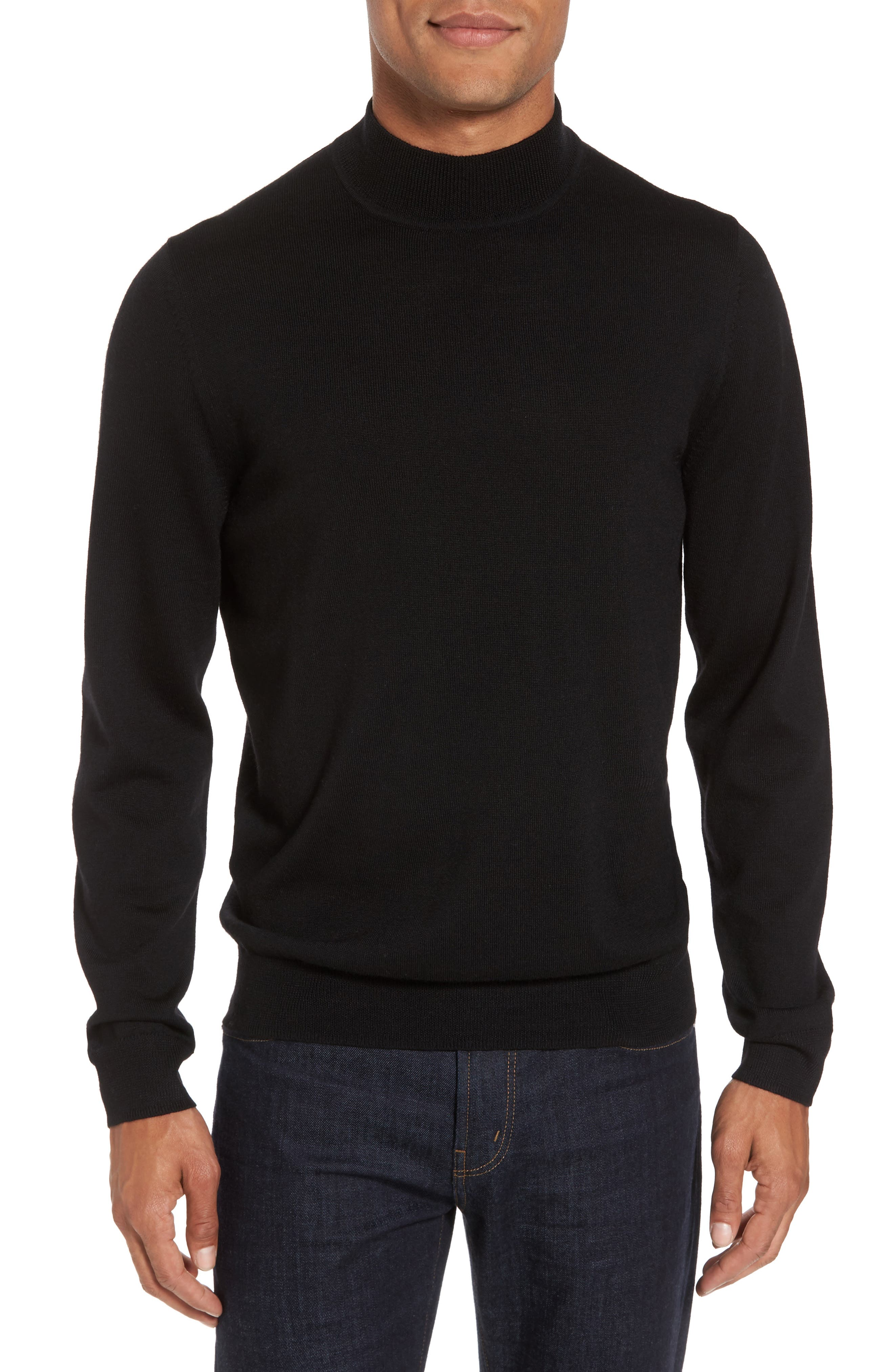 Nordstrom Shop Mock Neck Merino Wool Sweater, Black