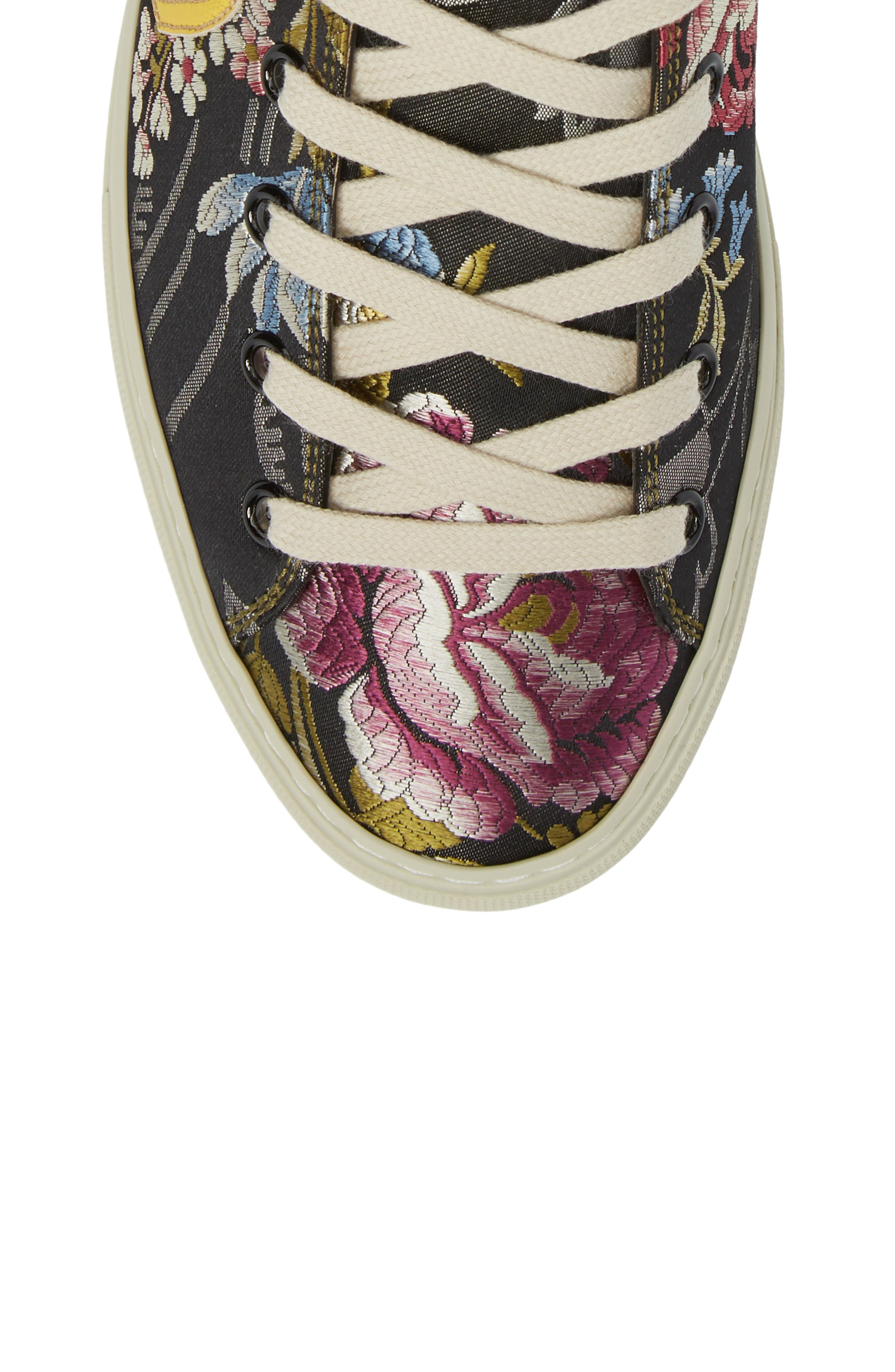 Floral High Top Sneaker,                             Alternate thumbnail 5, color,                             001