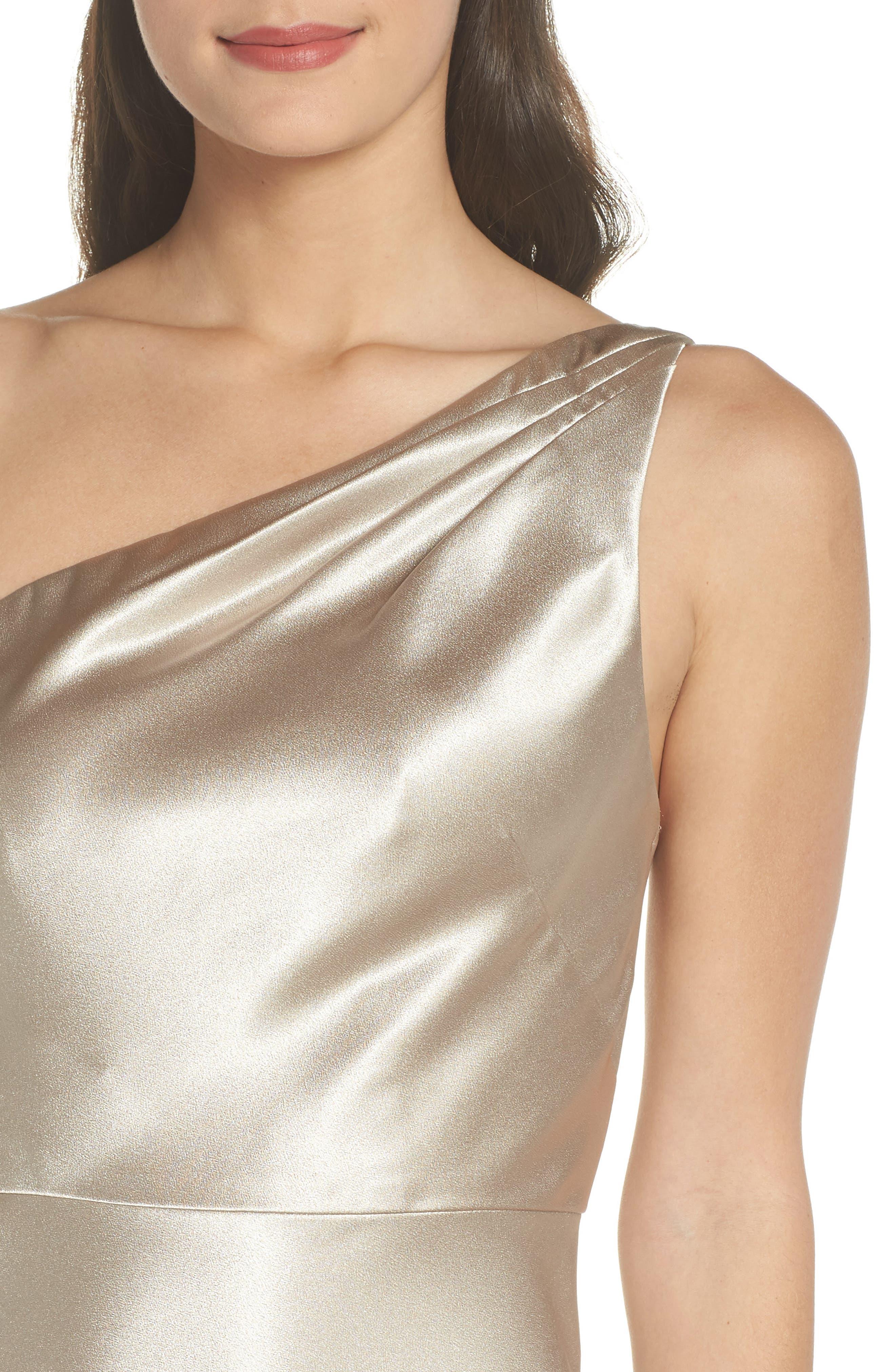 Lena One-Shoulder Crepe Back Satin Gown,                             Alternate thumbnail 4, color,                             253