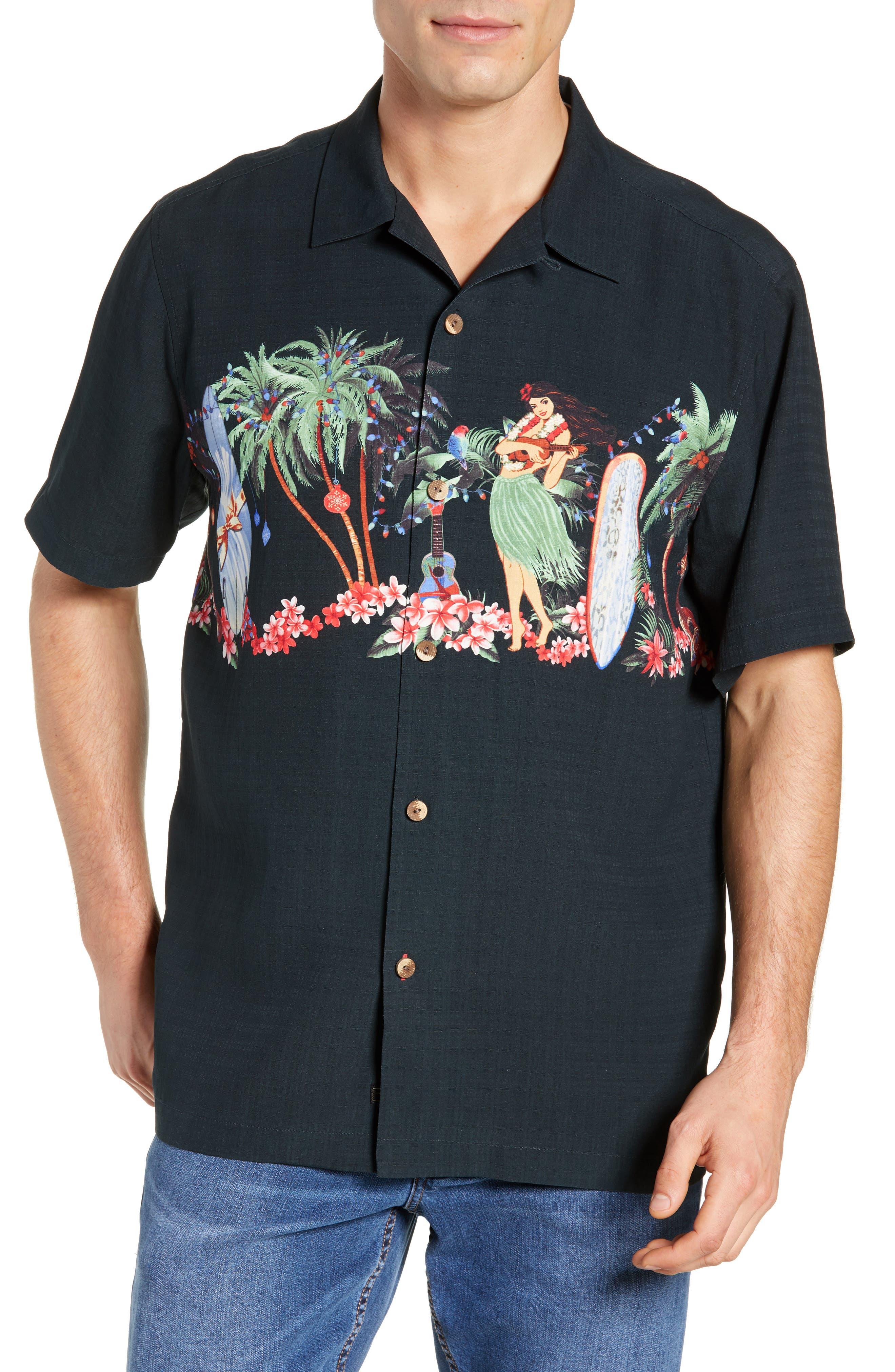 Mele Kalikimaka Silk Camp Shirt,                         Main,                         color, BLACK