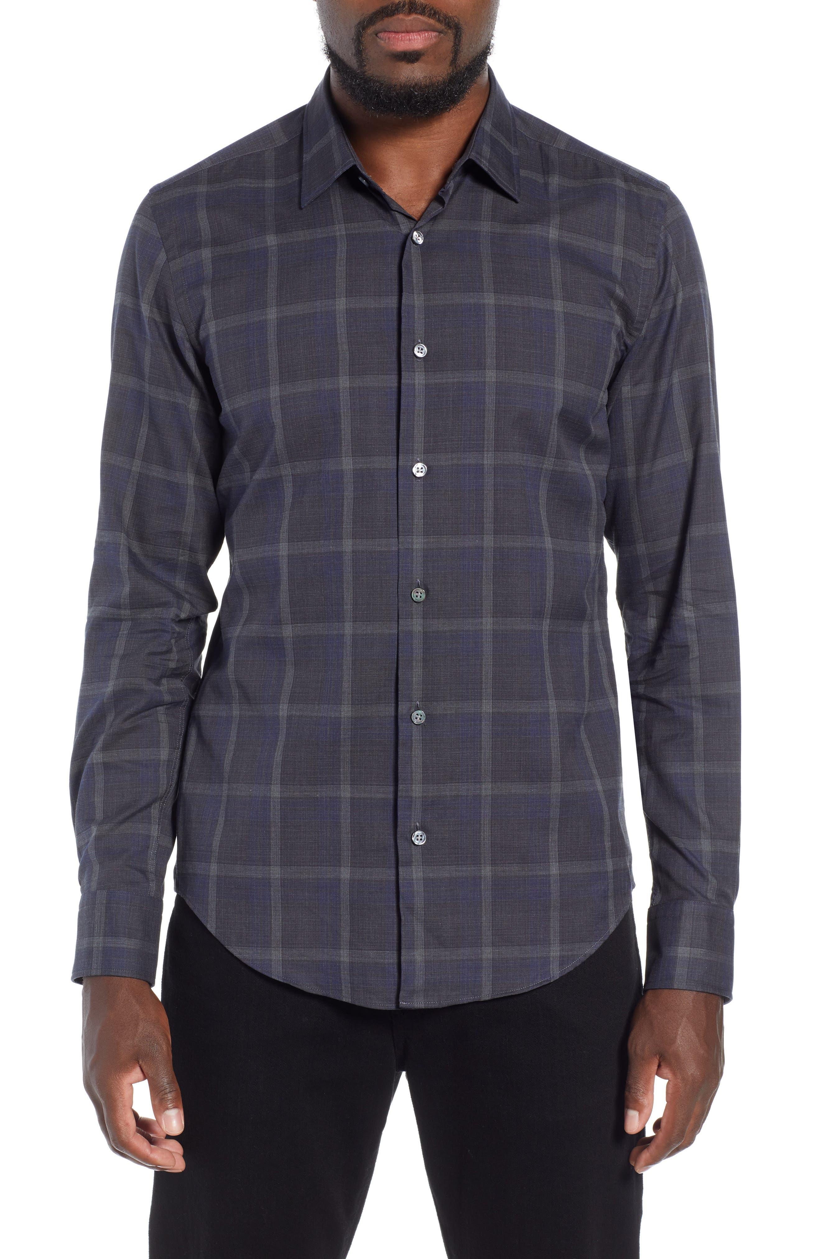 T-Riccardo Slim Fit Plaid Flannel Sport Shirt,                         Main,                         color, BLUE
