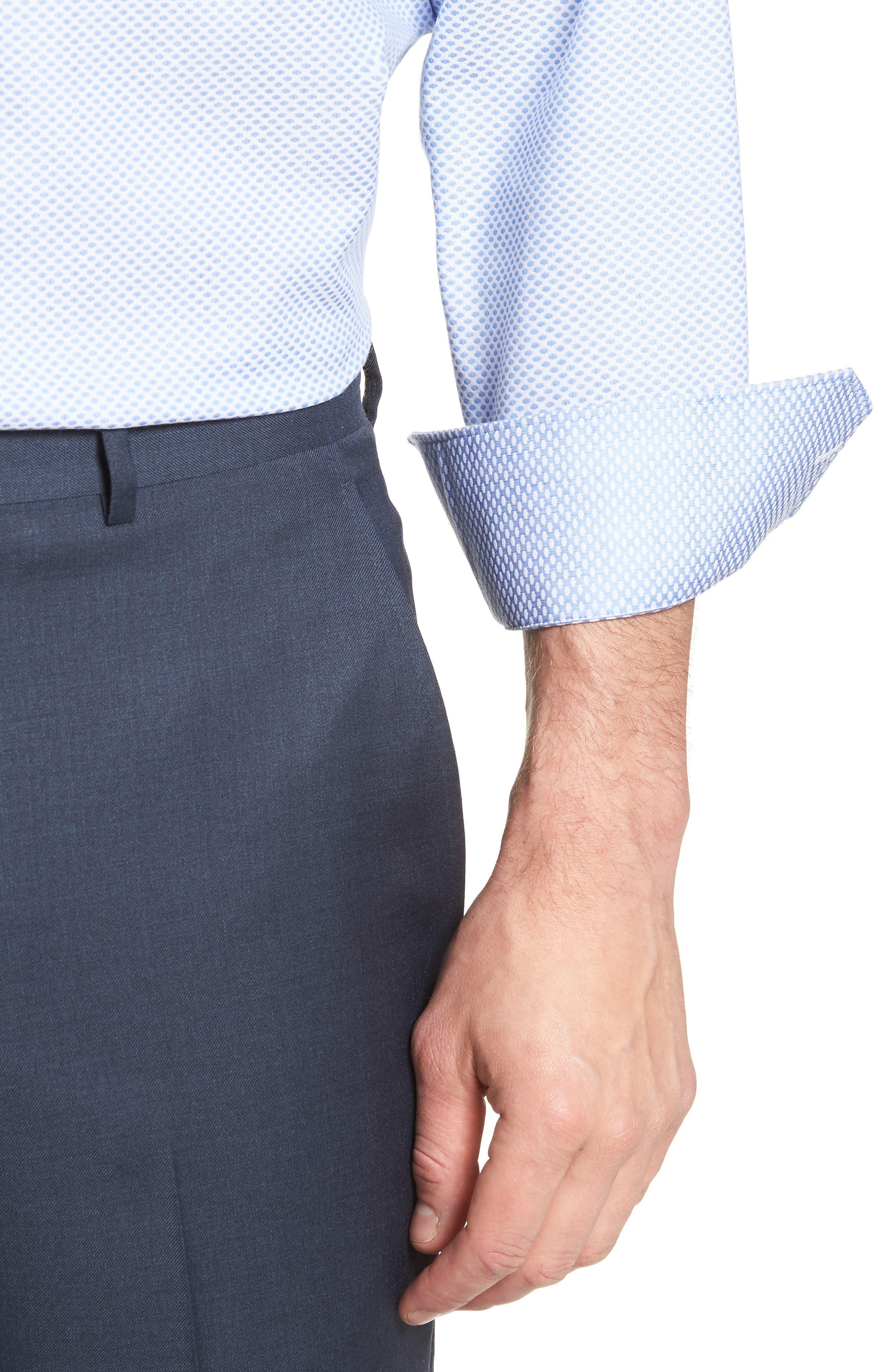 Bigbenn Trim Fit Dot Dress Shirt,                             Alternate thumbnail 2, color,                             BLUE