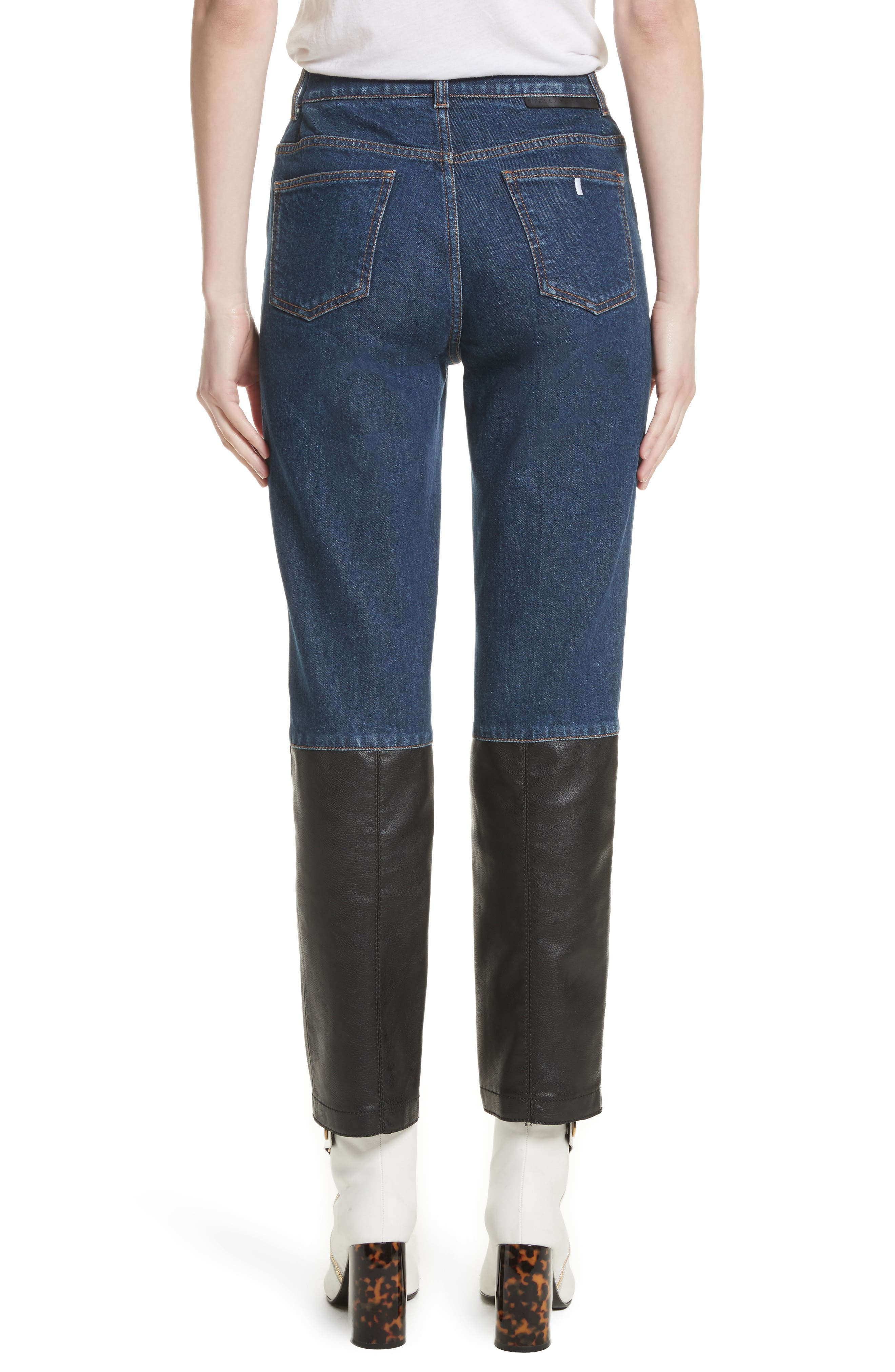 Alter Leather Trim High Waist Straight Leg Jeans,                             Alternate thumbnail 2, color,                             400