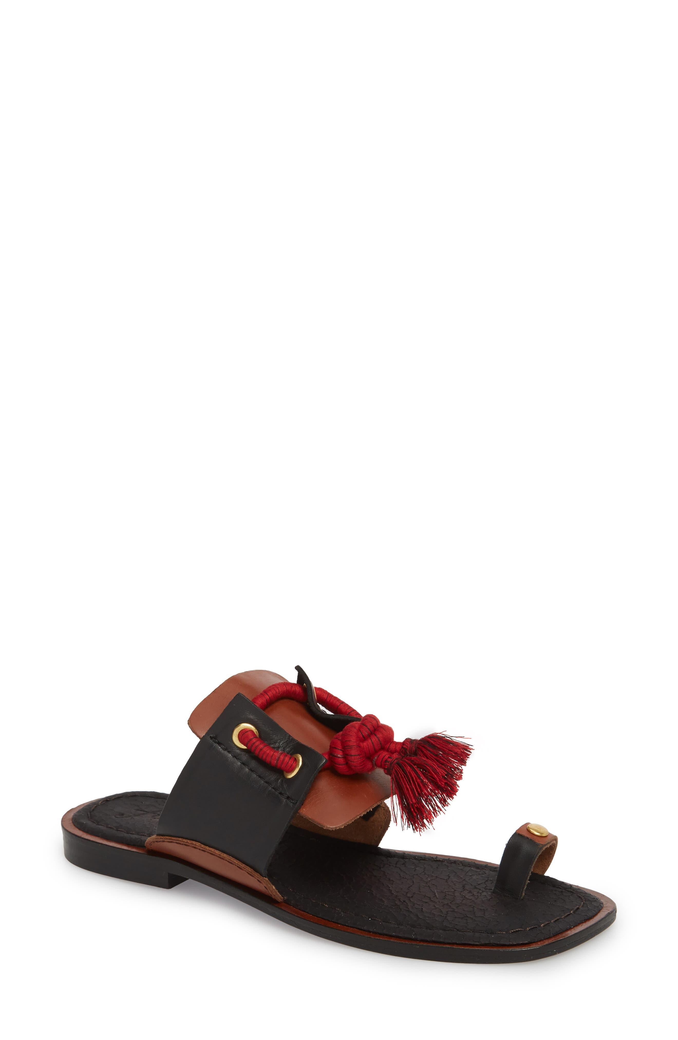 Maui Tasseled Slide Sandal,                             Main thumbnail 1, color,                             001