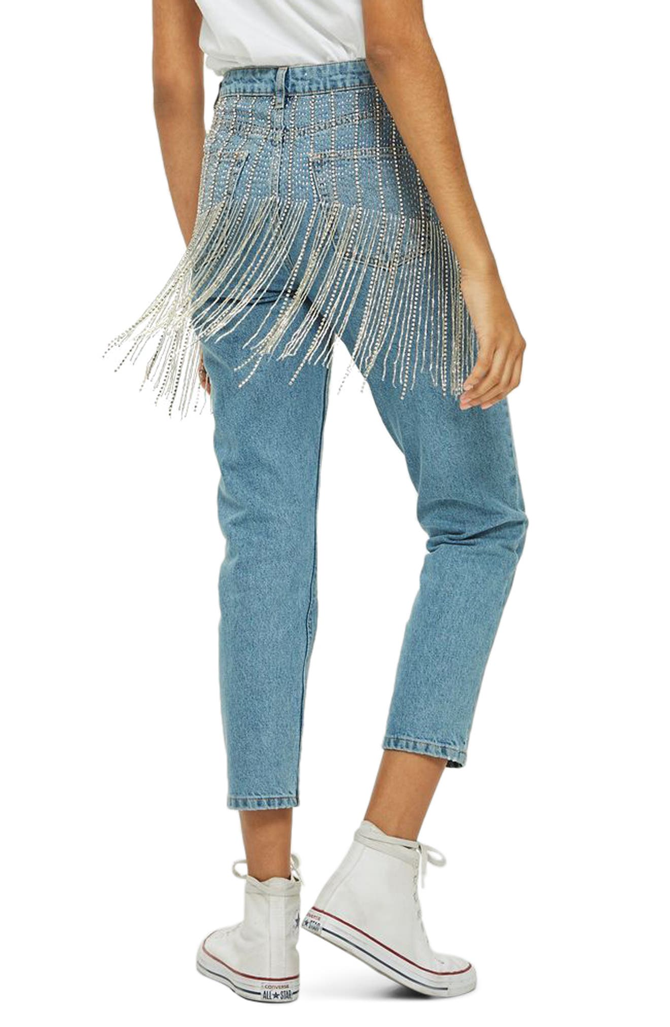 Diamante Crystal Fringe Mom Jeans,                             Alternate thumbnail 2, color,