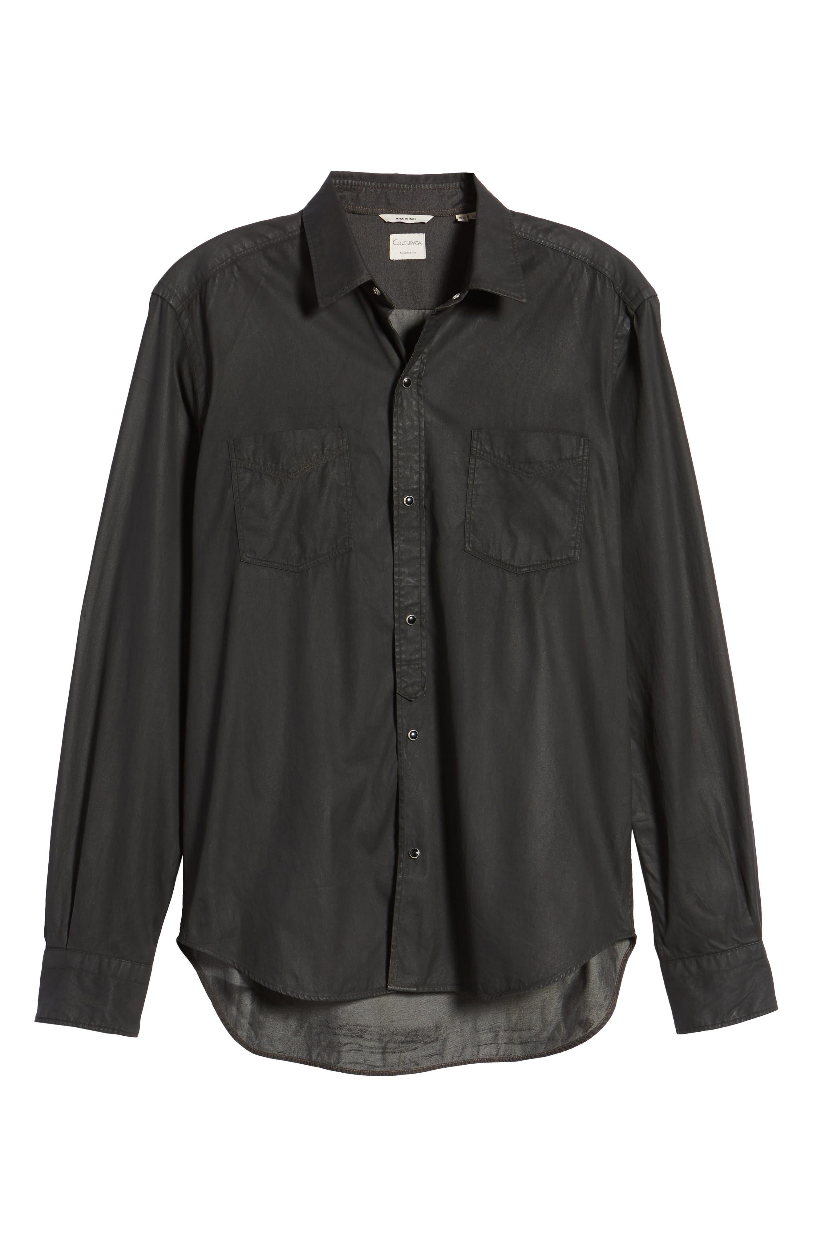 Trim Fit Resin Wash Denim Shirt,                             Alternate thumbnail 6, color,