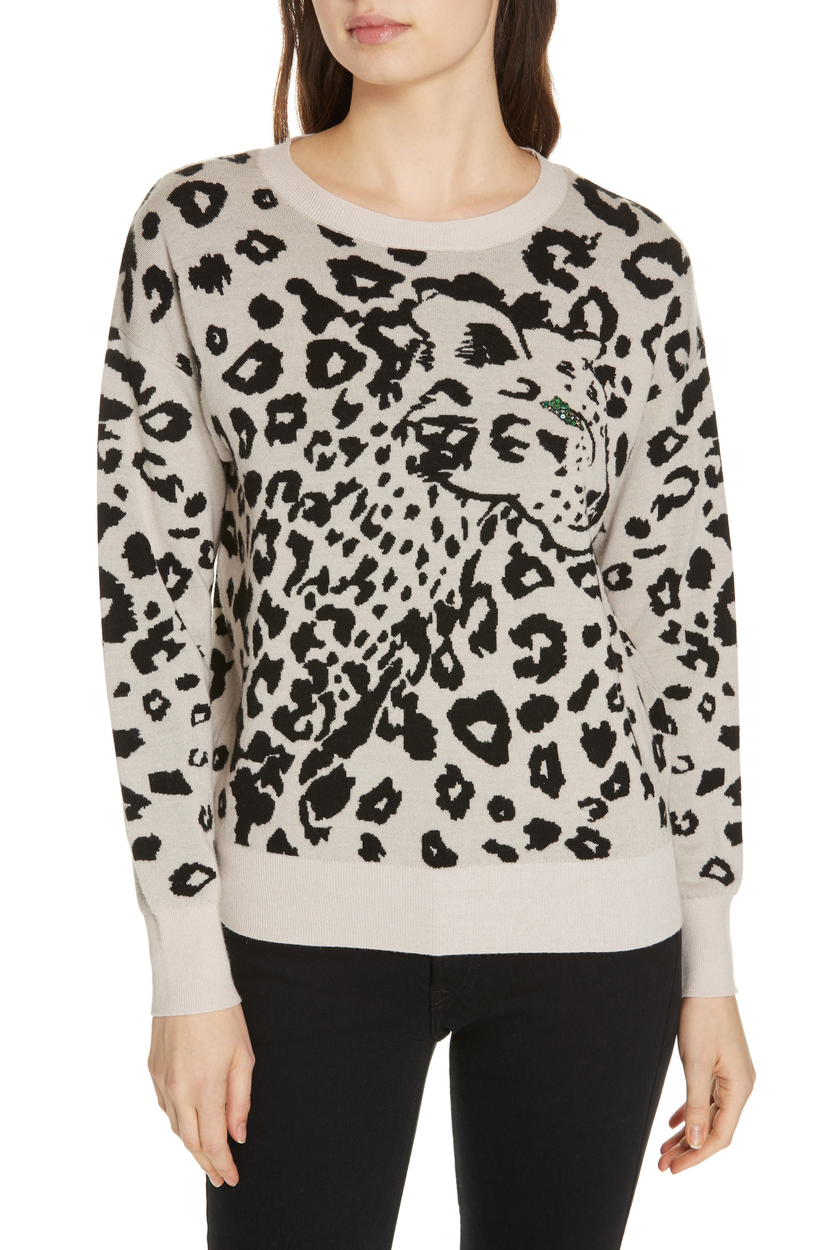 Animal Jacquard Wool Pullover Sweater in Cream/ Black