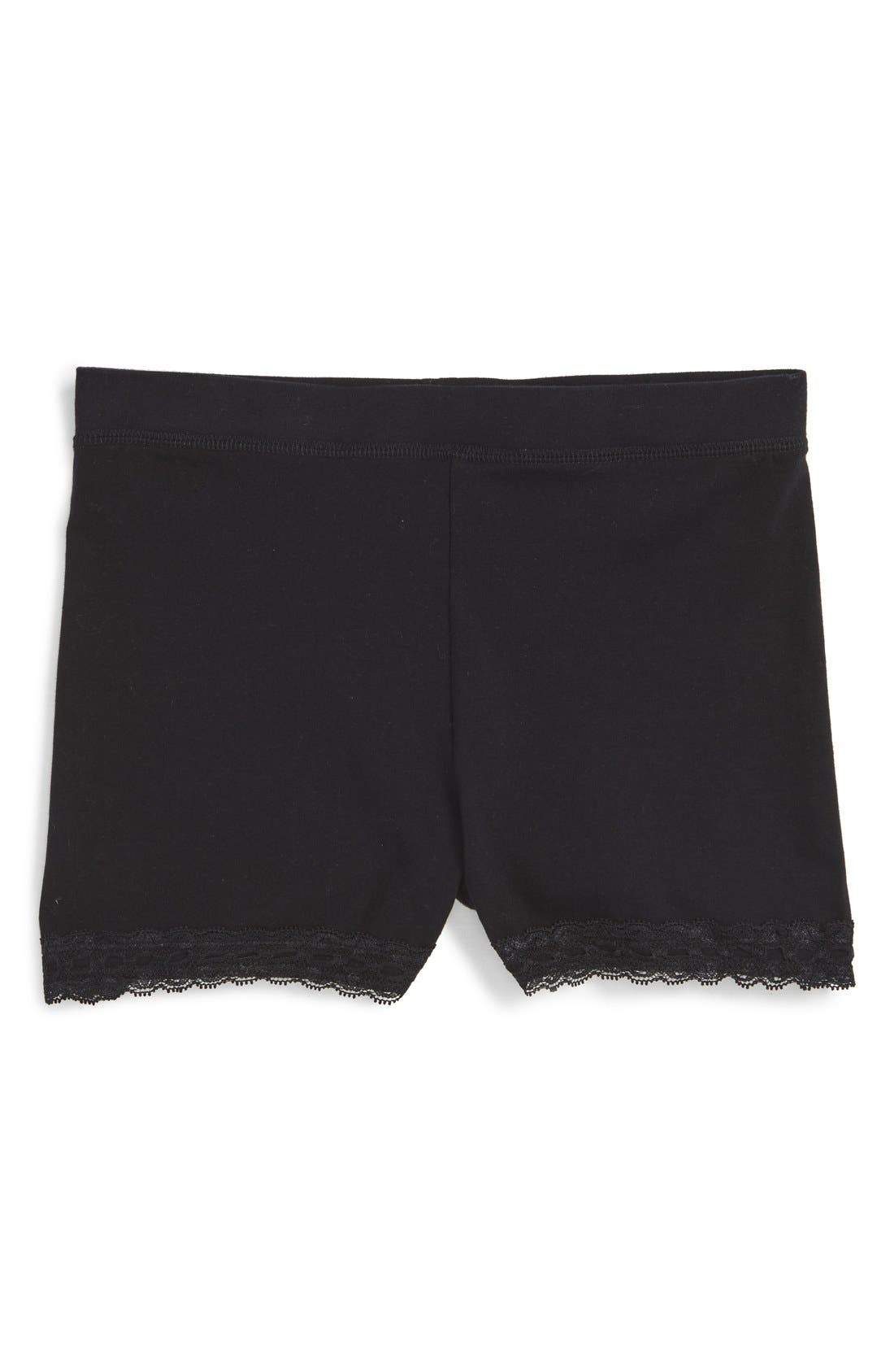 Lace Trim Bike Shorts,                             Main thumbnail 1, color,                             BLACK