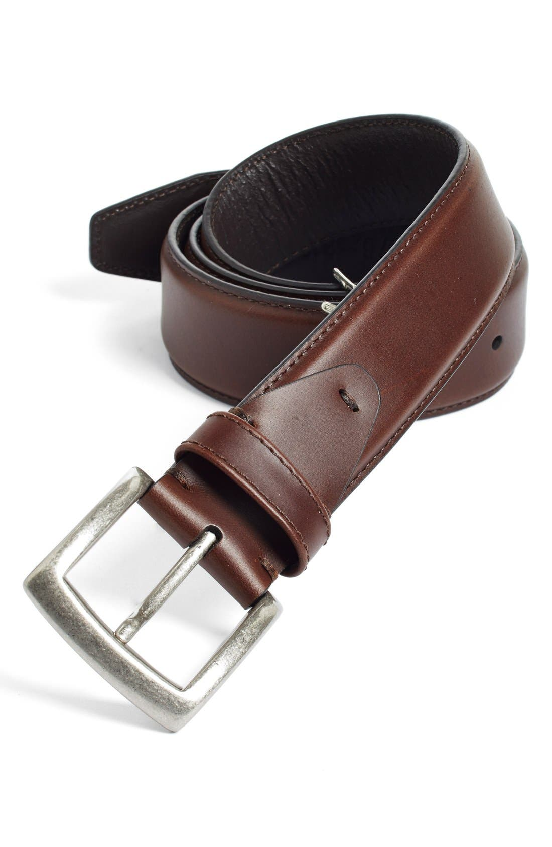 Calfskin Belt,                             Main thumbnail 1, color,                             DARK BROWN