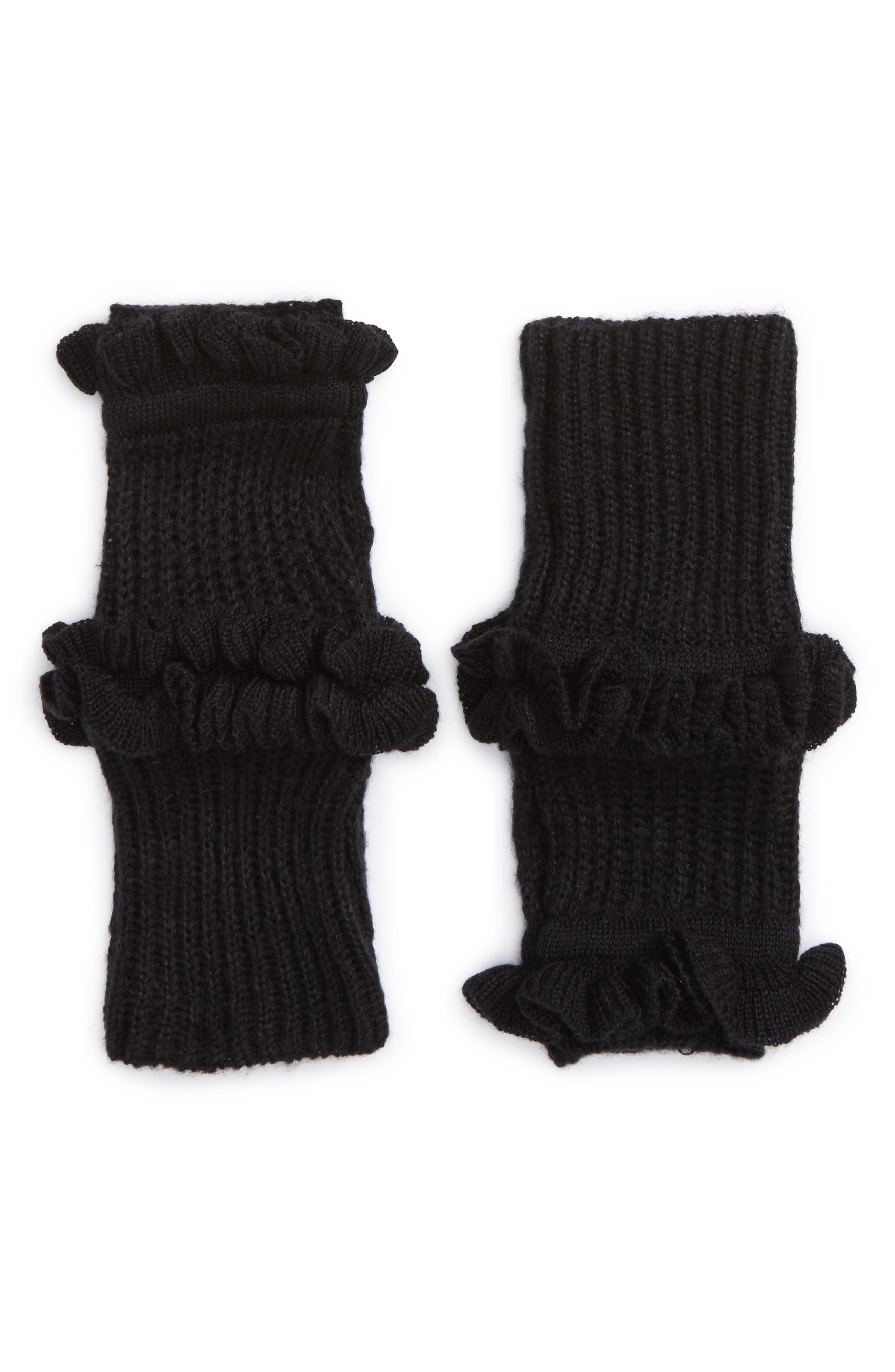Ruffle Fingerless Gloves,                             Main thumbnail 1, color,                             001