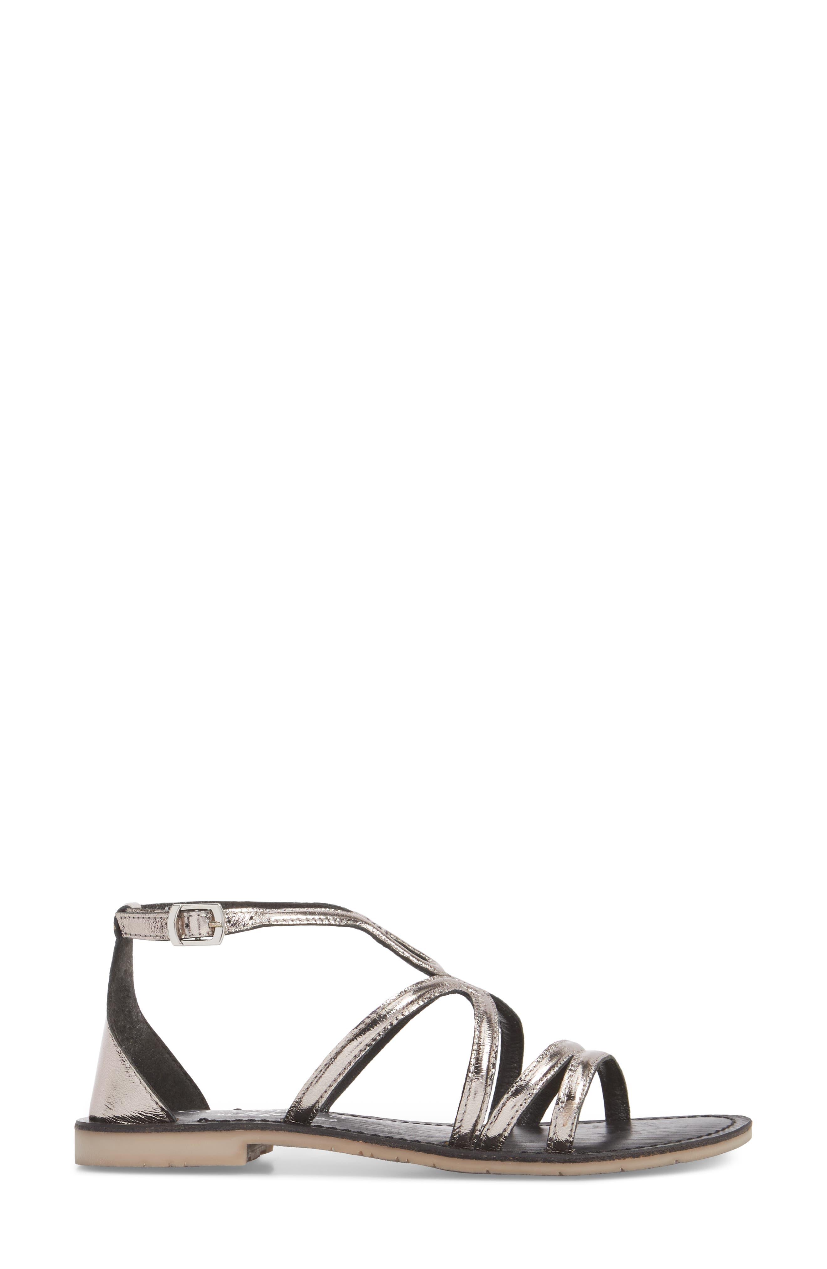 Palm Beach Metallic Sandal,                             Alternate thumbnail 3, color,                             PEWTER LEATHER