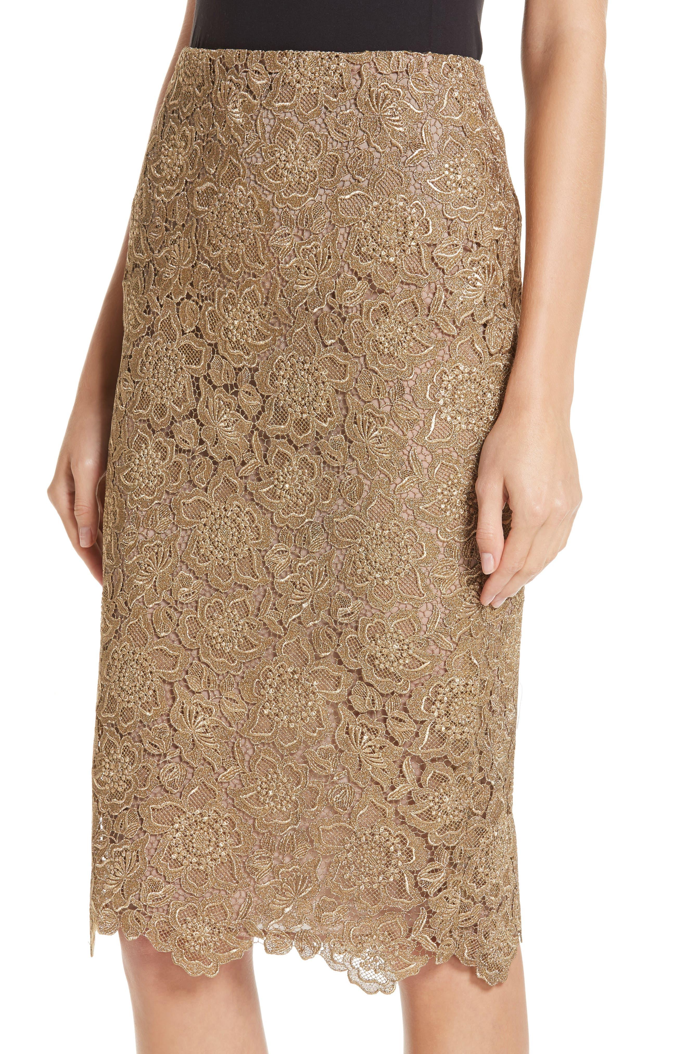 Anemone Guipure Lace Pencil Skirt,                             Alternate thumbnail 4, color,                             GOLD