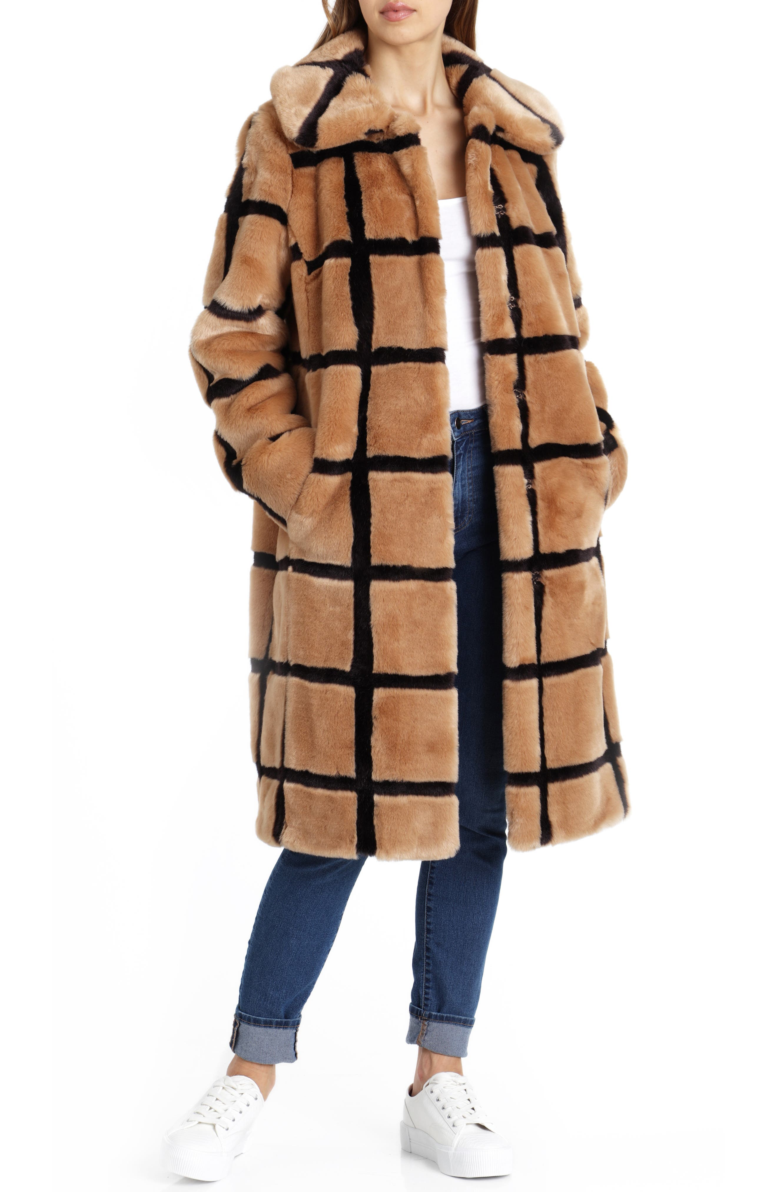 Windowpane Faux Fur Coat,                         Main,                         color, TAN/ ESPRESSO