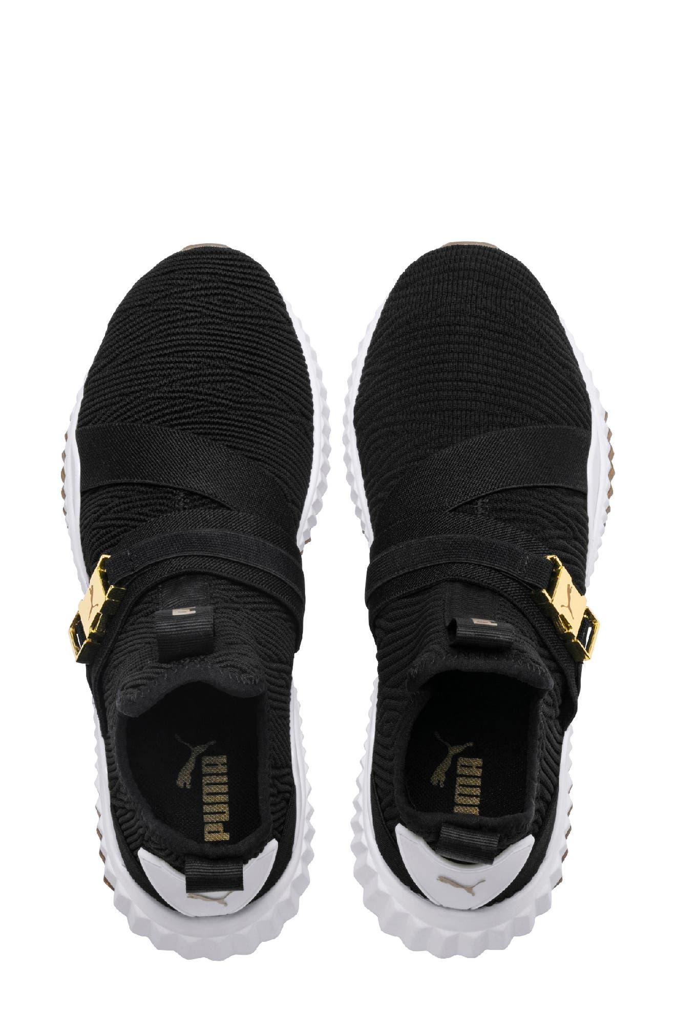 Defy Mid Varsity Sneaker,                             Alternate thumbnail 4, color,                             PUMA BLACK/ METALLIC GOLD