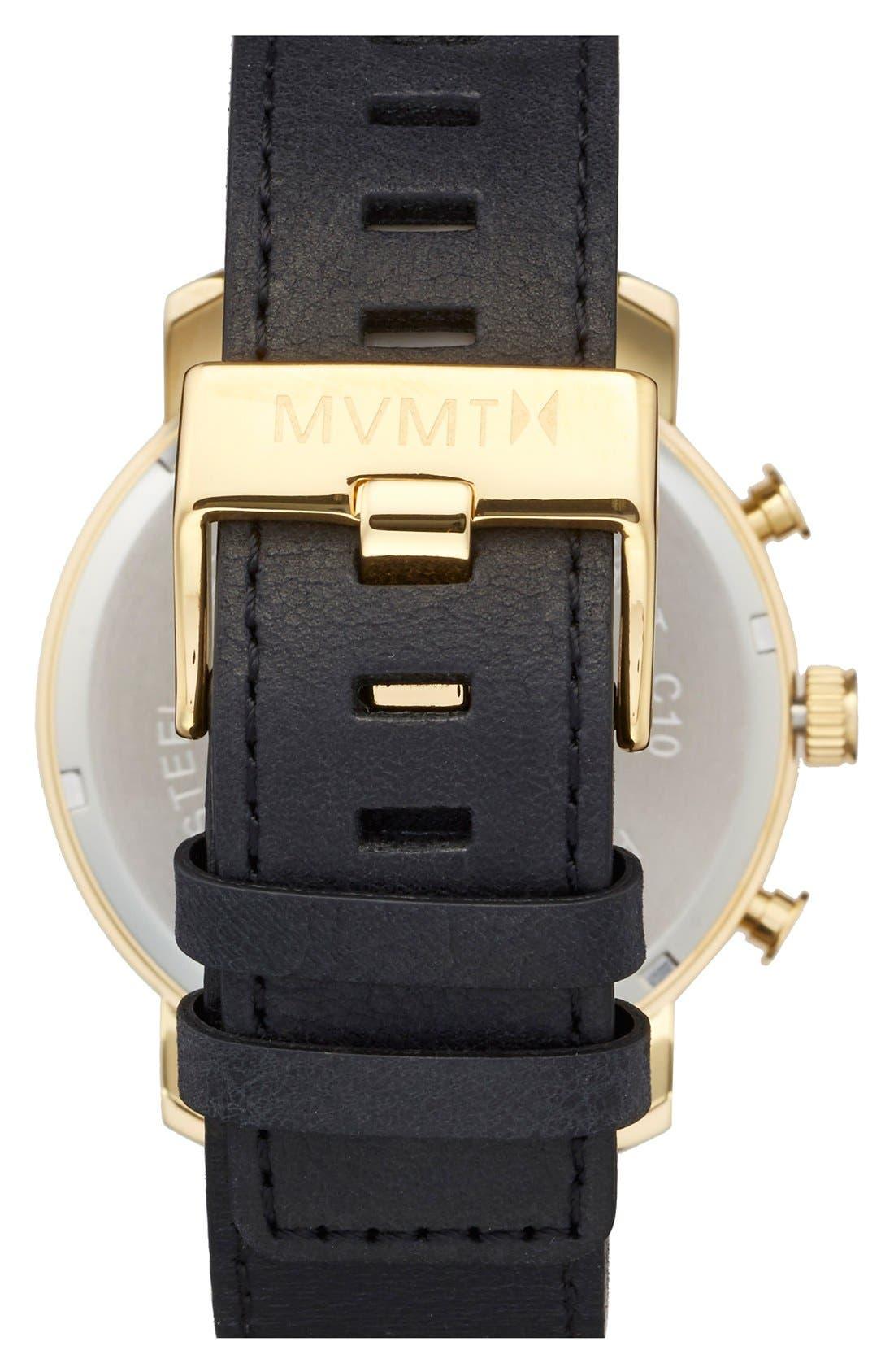 Chronograph Leather Strap Watch, 45mm,                             Alternate thumbnail 2, color,                             BLACK/ GOLD/ BLACK