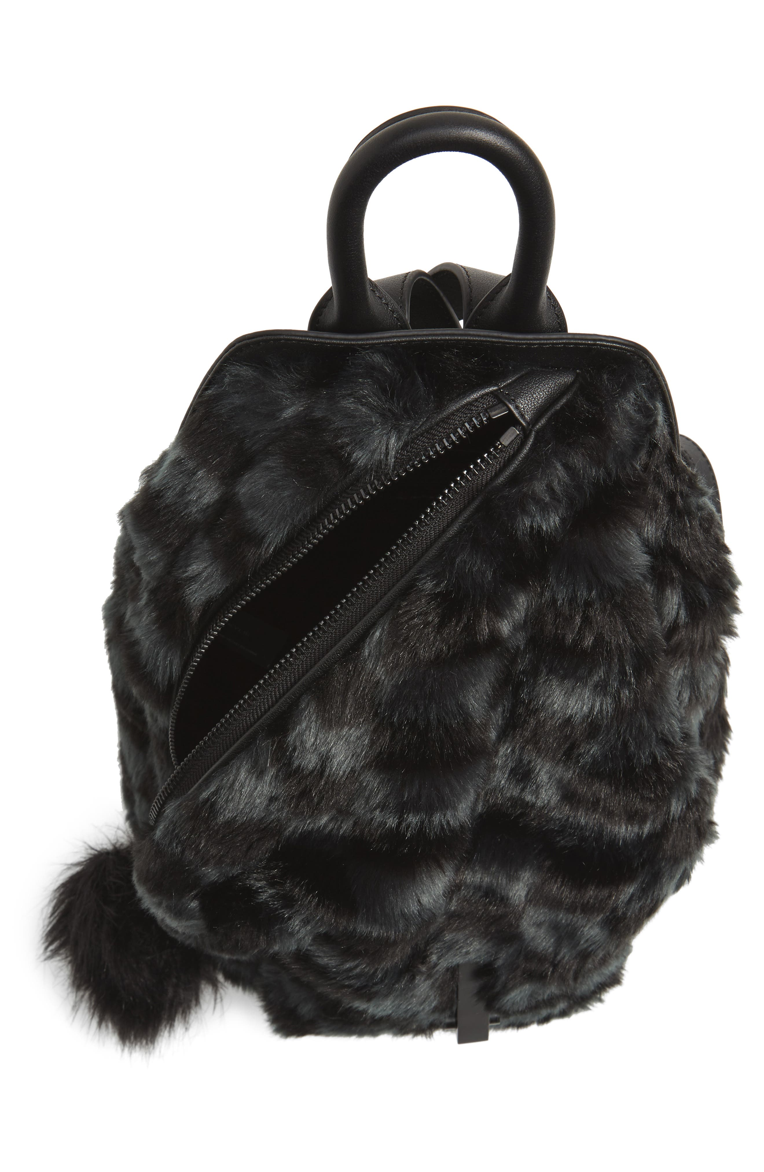 Koenji Faux Fur Backpack,                             Alternate thumbnail 4, color,                             004