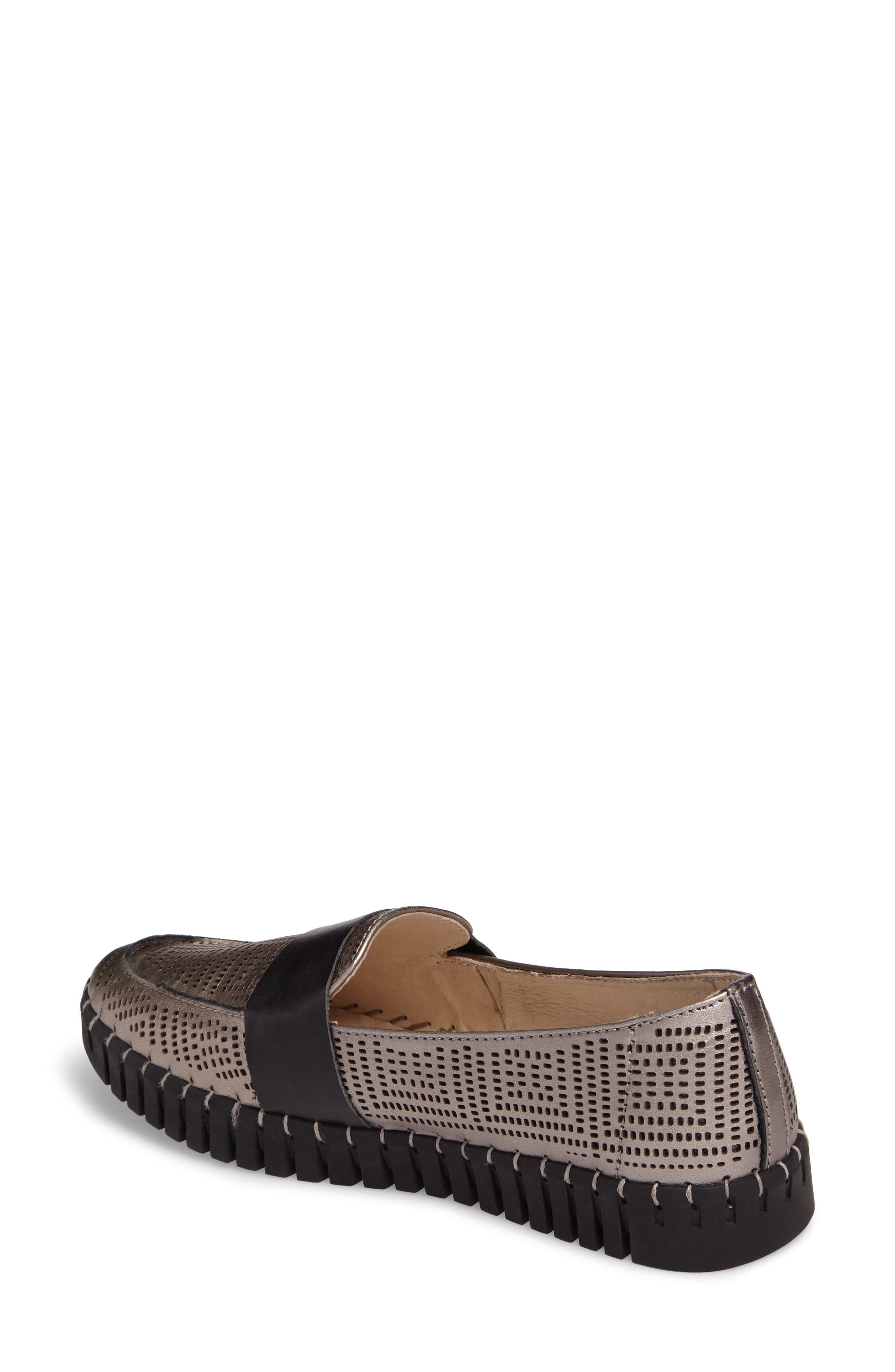 TW74 Perforated Flat,                             Alternate thumbnail 2, color,                             GUNMETAL LEATHER