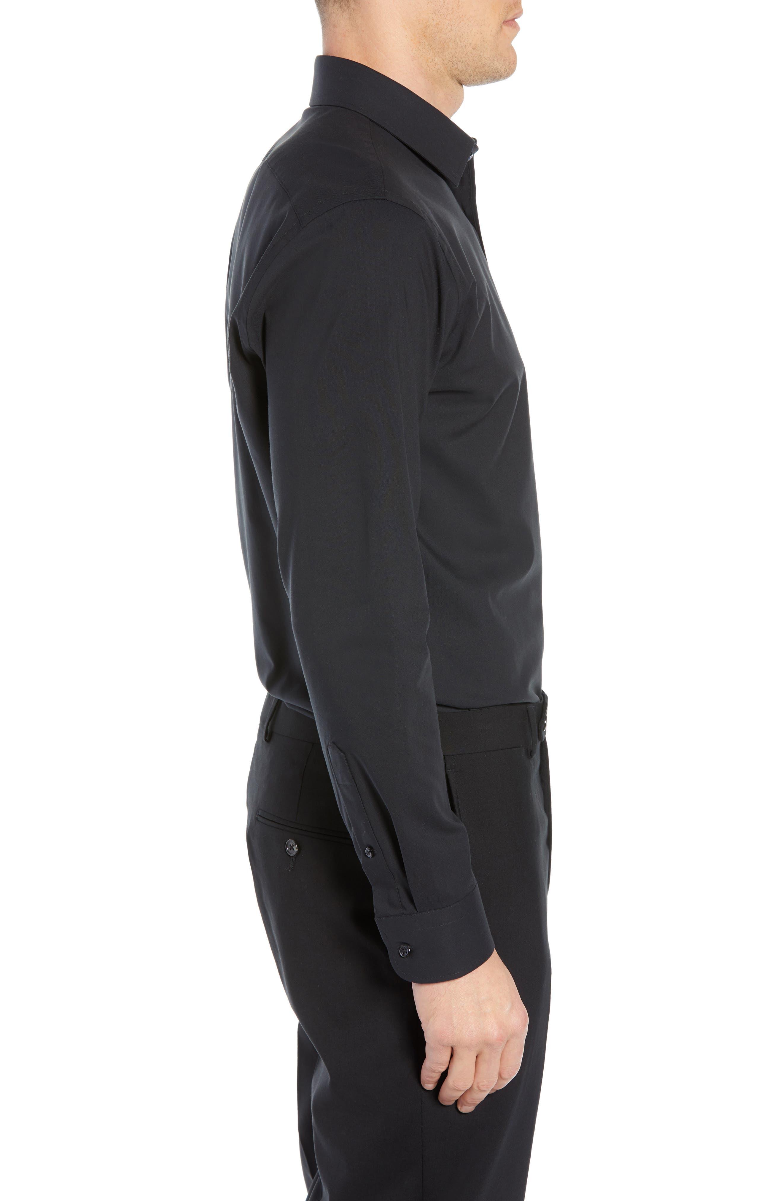 Tech-Smart Trim Fit Stretch Pinpoint Dress Shirt,                             Alternate thumbnail 4, color,                             BLACK ROCK