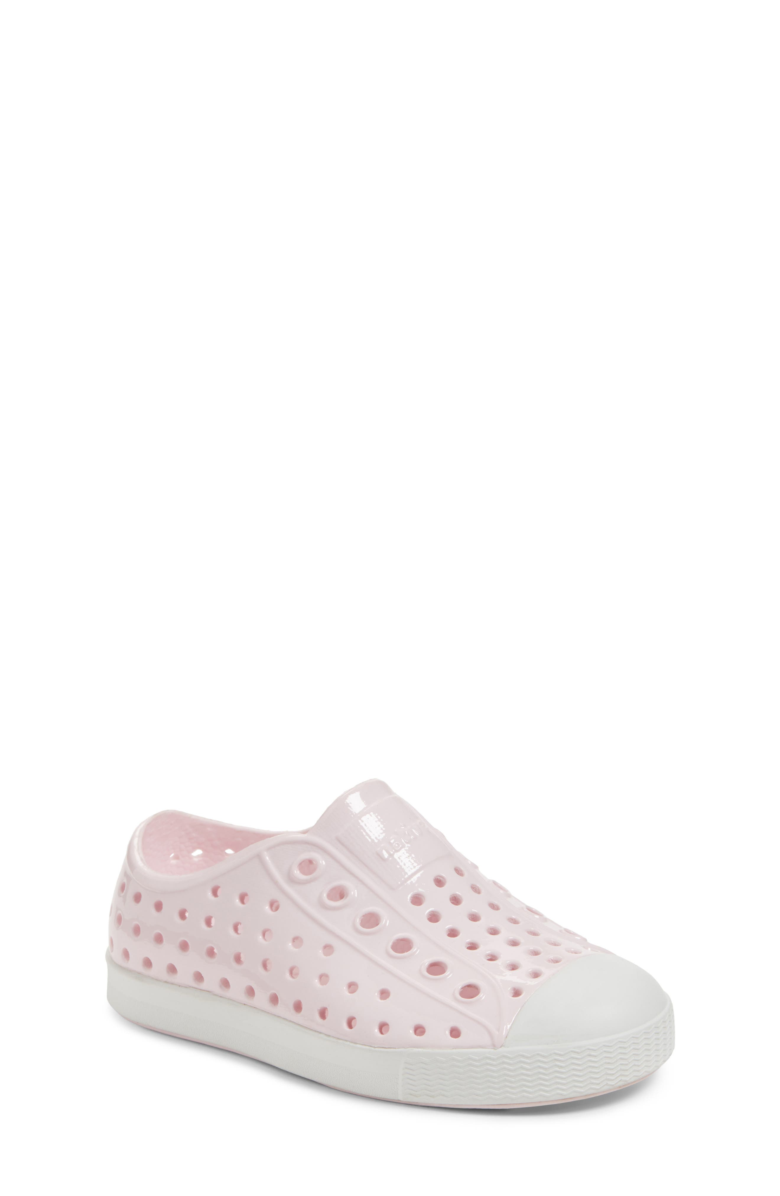 Jefferson Glossy Slip-On Sneaker,                             Main thumbnail 1, color,                             MILK PINK/ SHELL WHITE