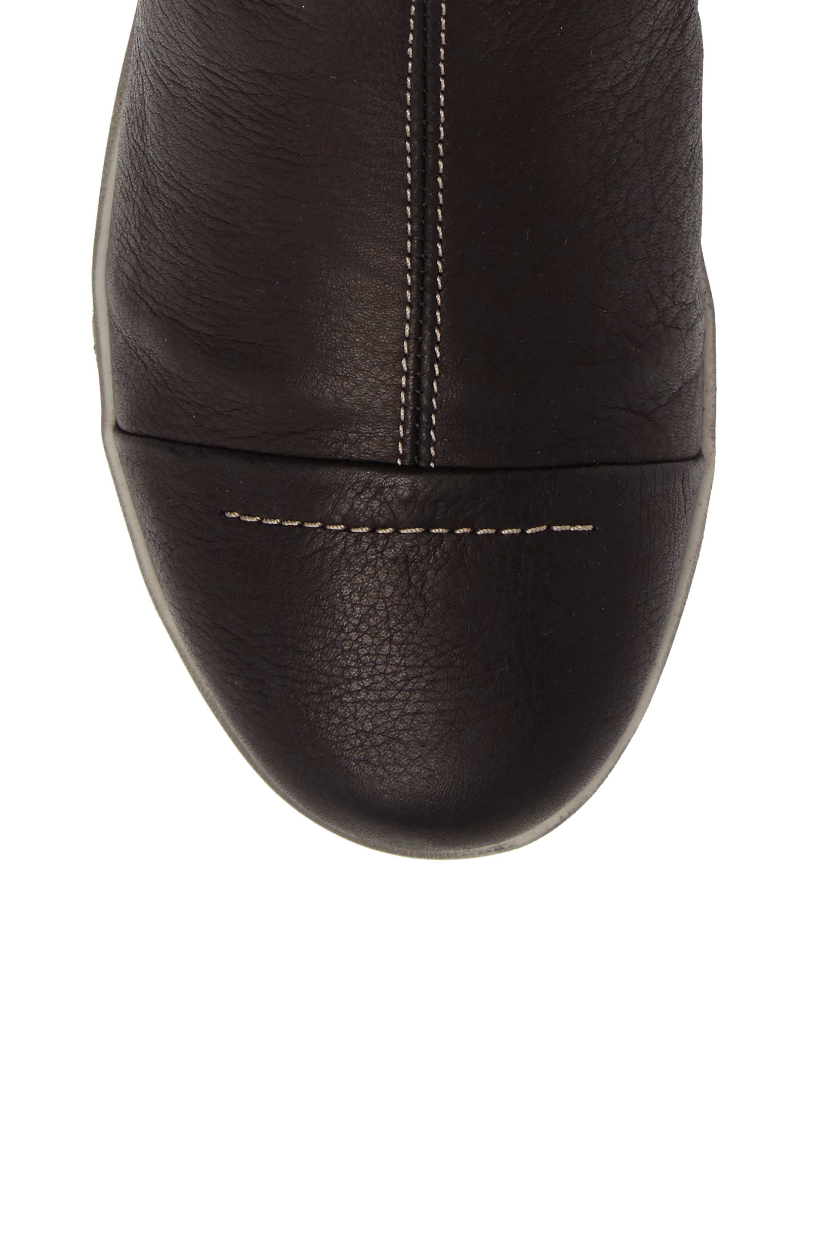 Amber Wool Lined Bootie,                             Alternate thumbnail 5, color,                             BLACK LEATHER
