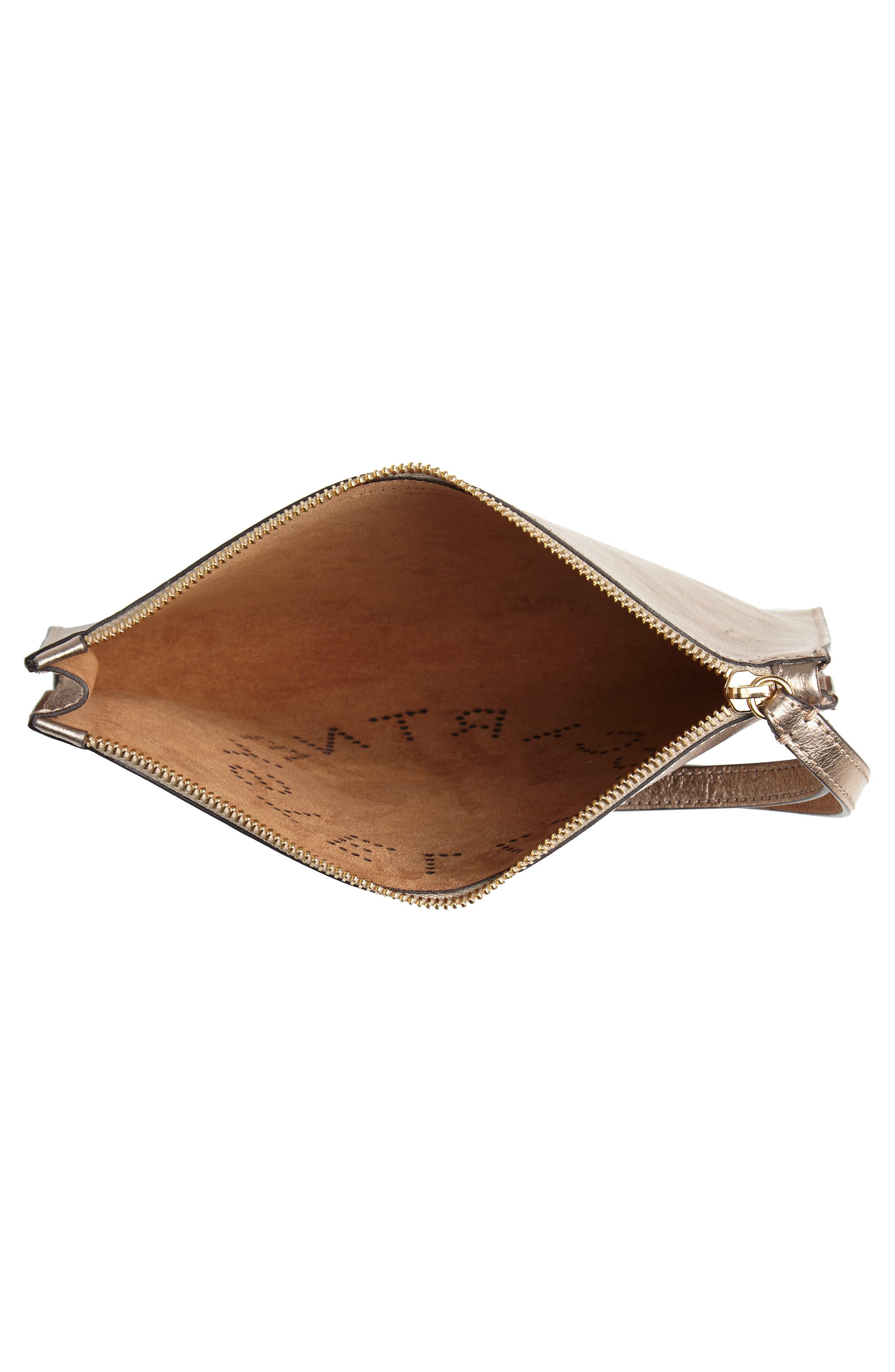 Metallic Faux Nappa Leather Wristlet Clutch,                             Alternate thumbnail 4, color,                             ROSE GOLD
