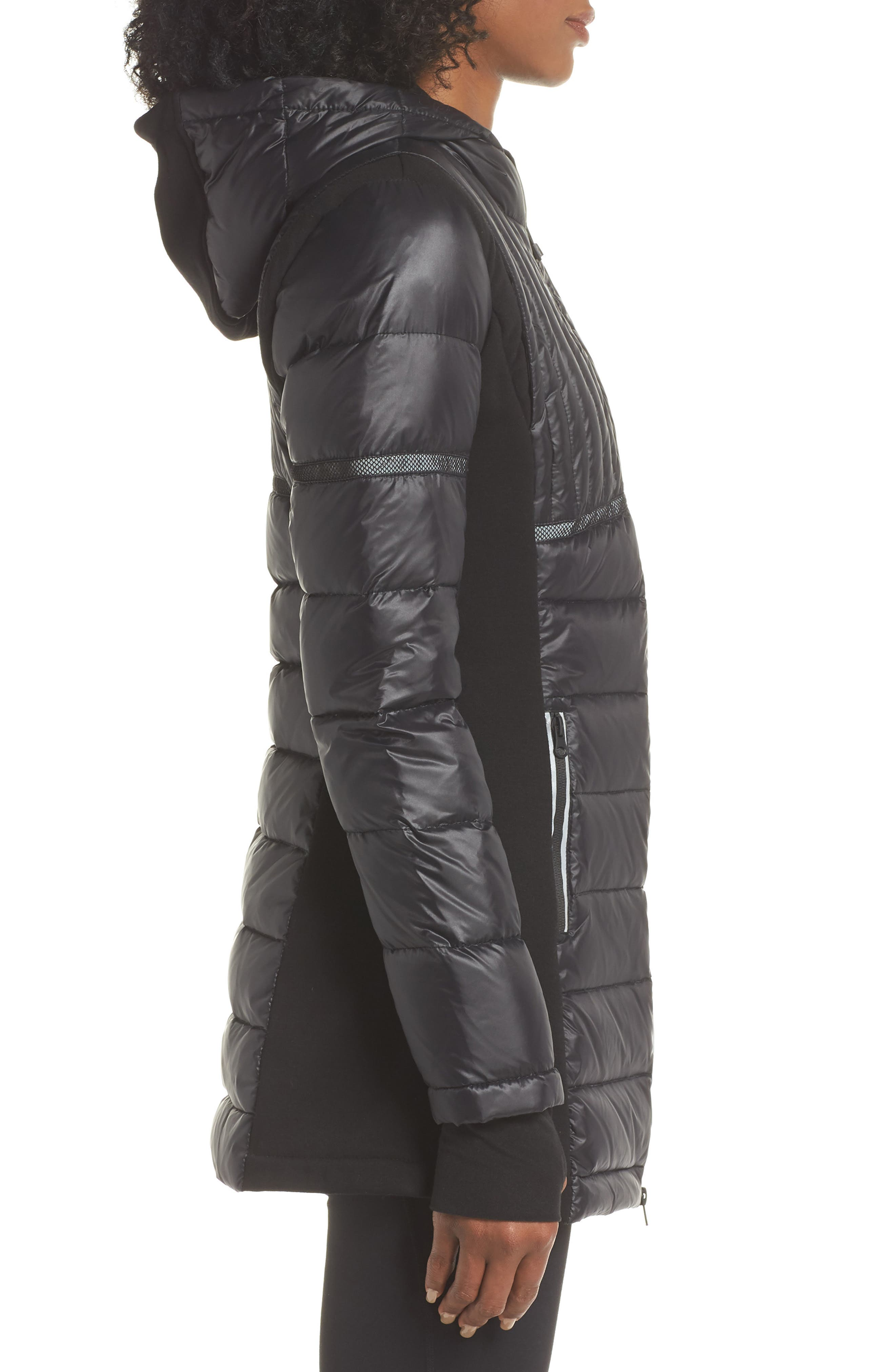 Reflective Down Puffer Jacket,                             Alternate thumbnail 3, color,                             BLACK/ BLACK