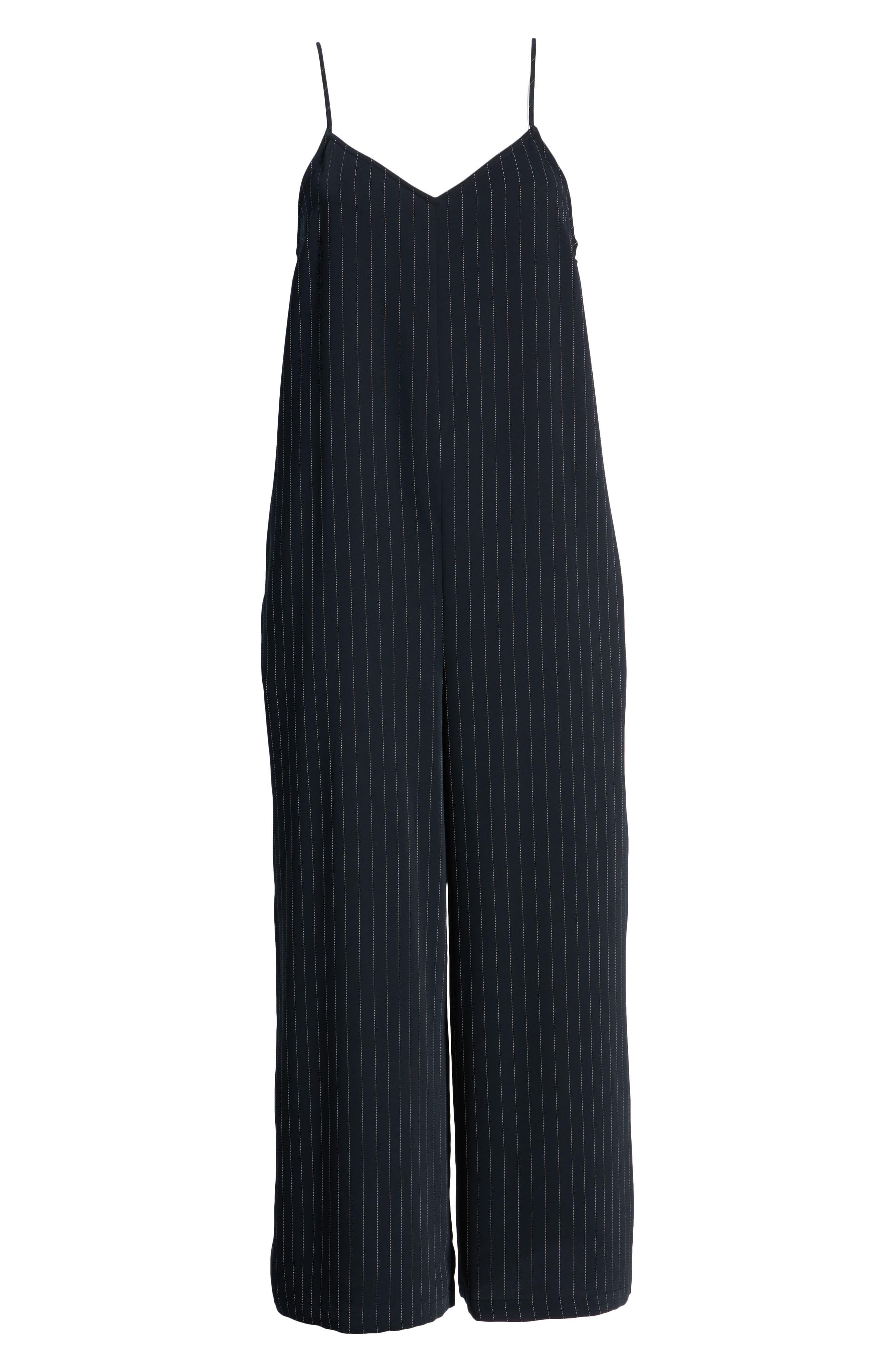 Crop Jumpsuit,                             Alternate thumbnail 7, color,                             BLACK DOTTED PINSTRIPE
