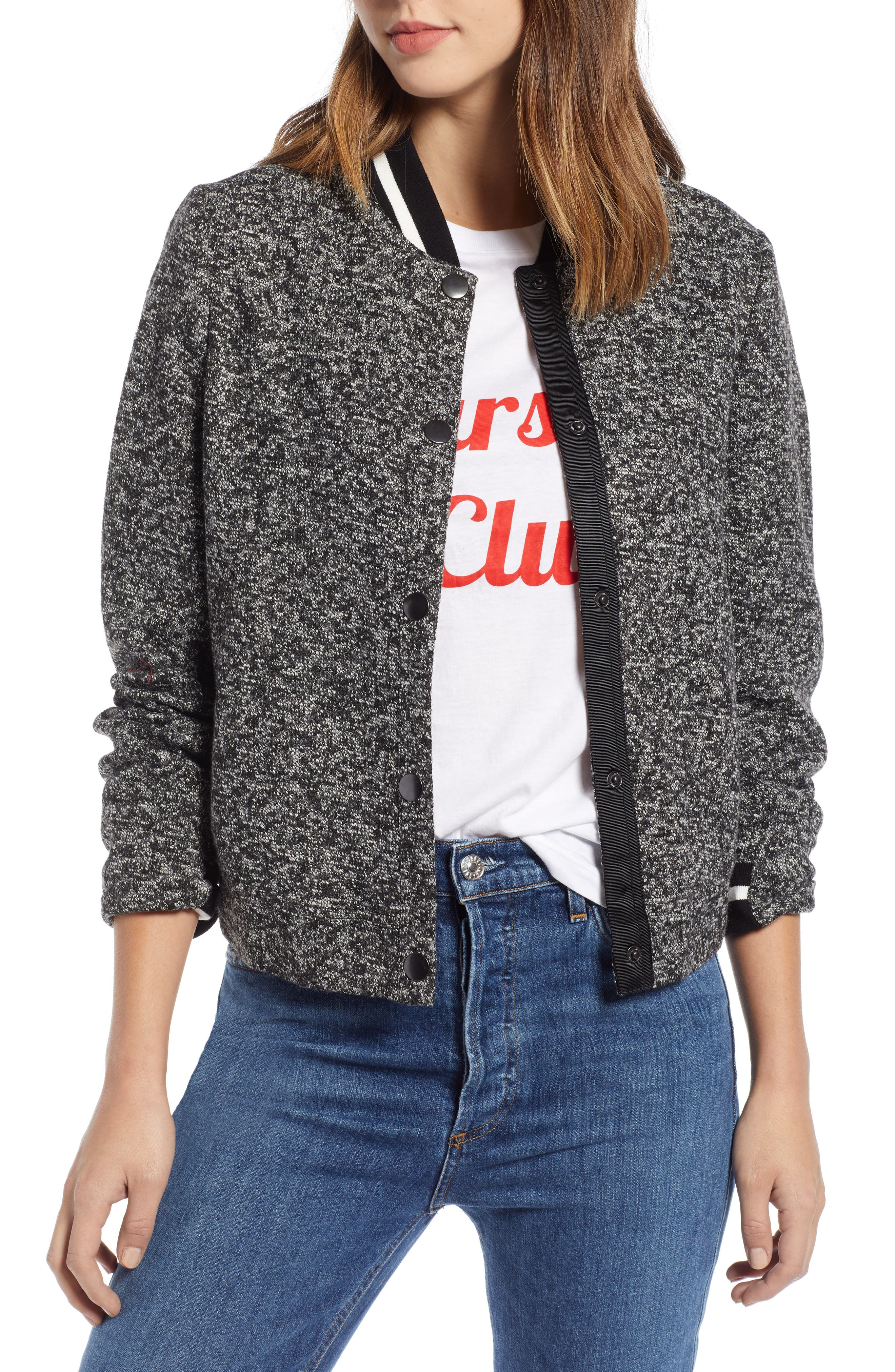 Tweed Bomber Jacket, Main, color, 001