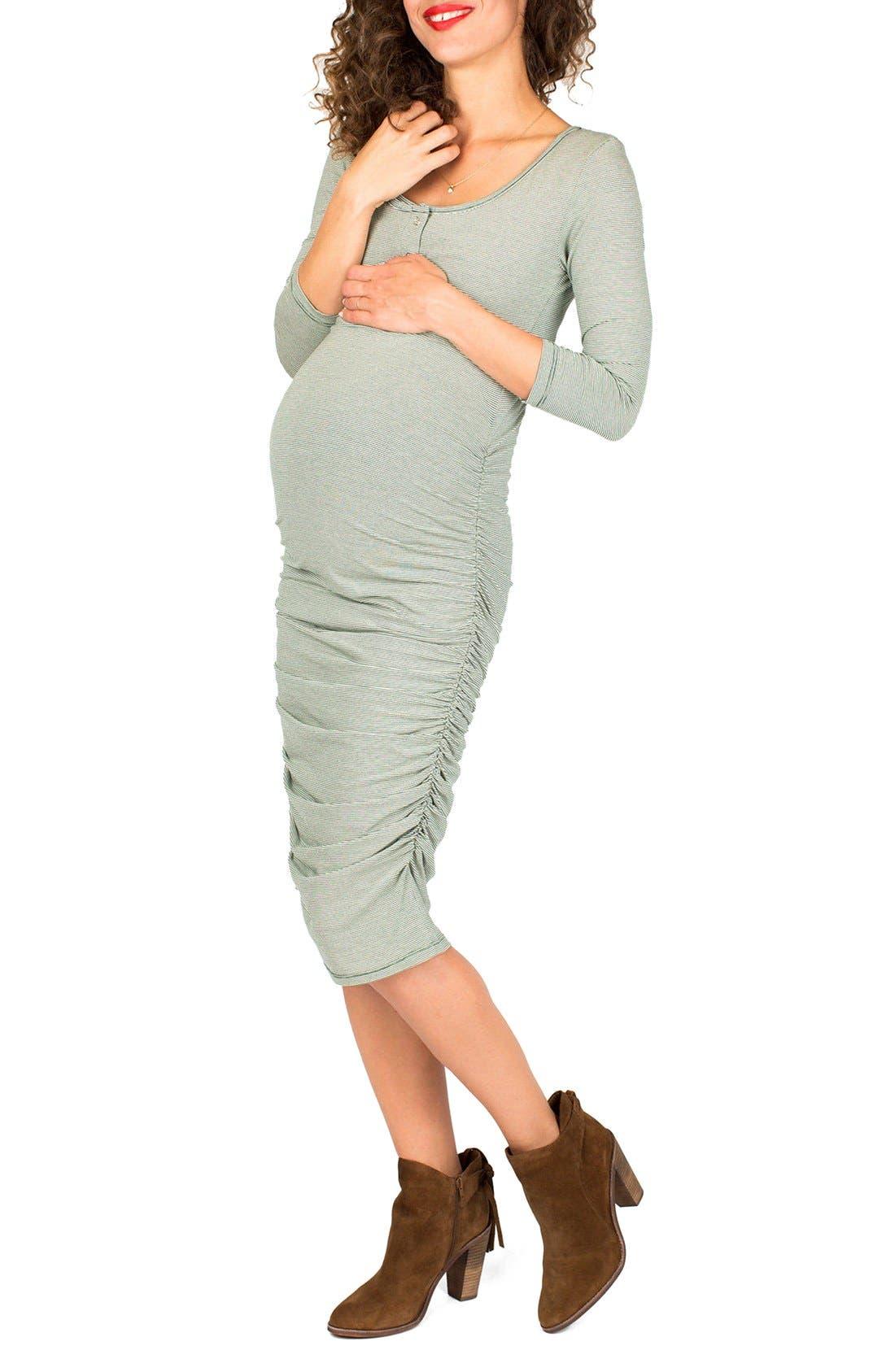 Nom Henley Maternity Dress, Blue