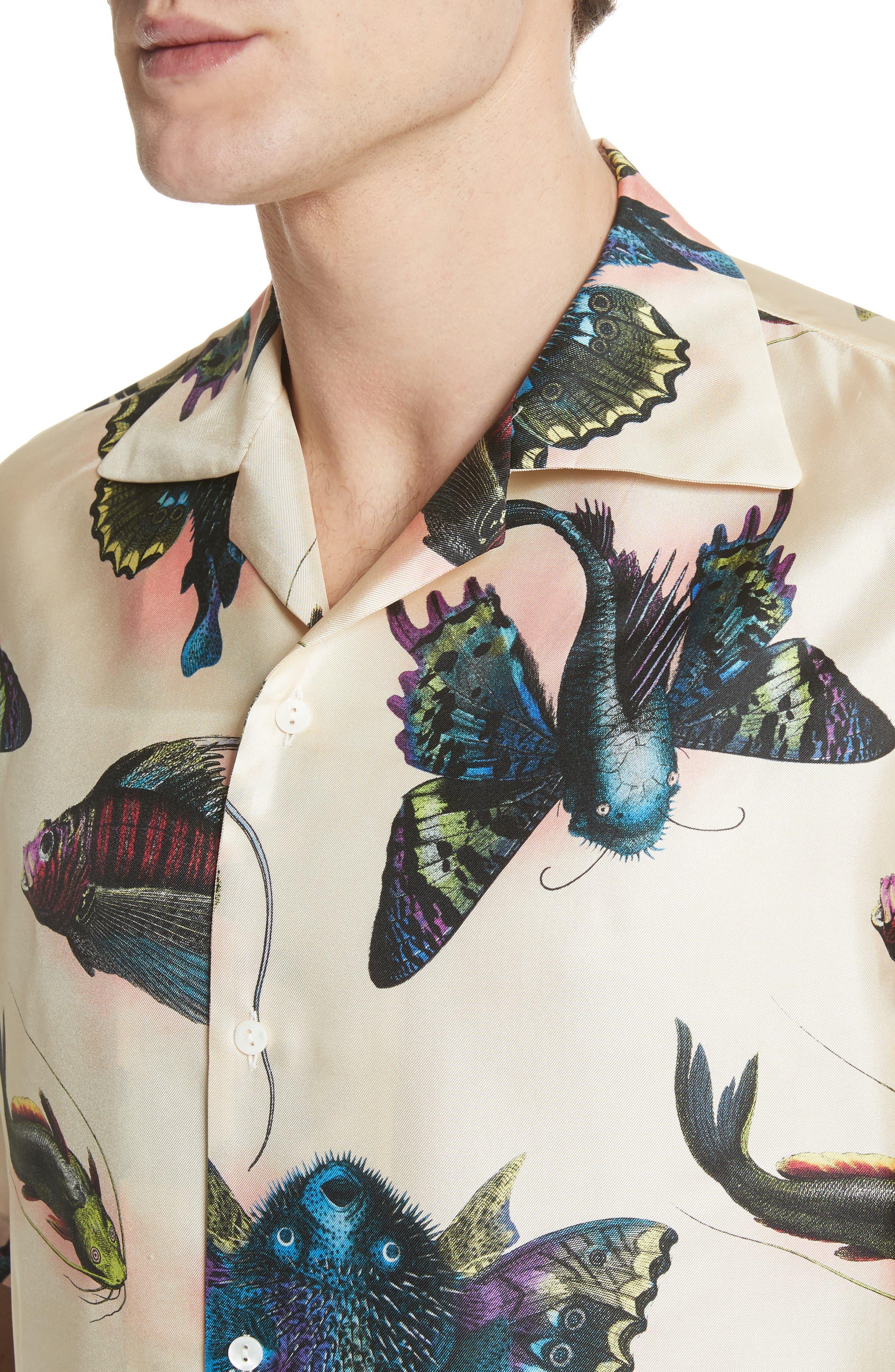 Flying Fish Silk Bowling Shirt,                             Alternate thumbnail 4, color,                             183