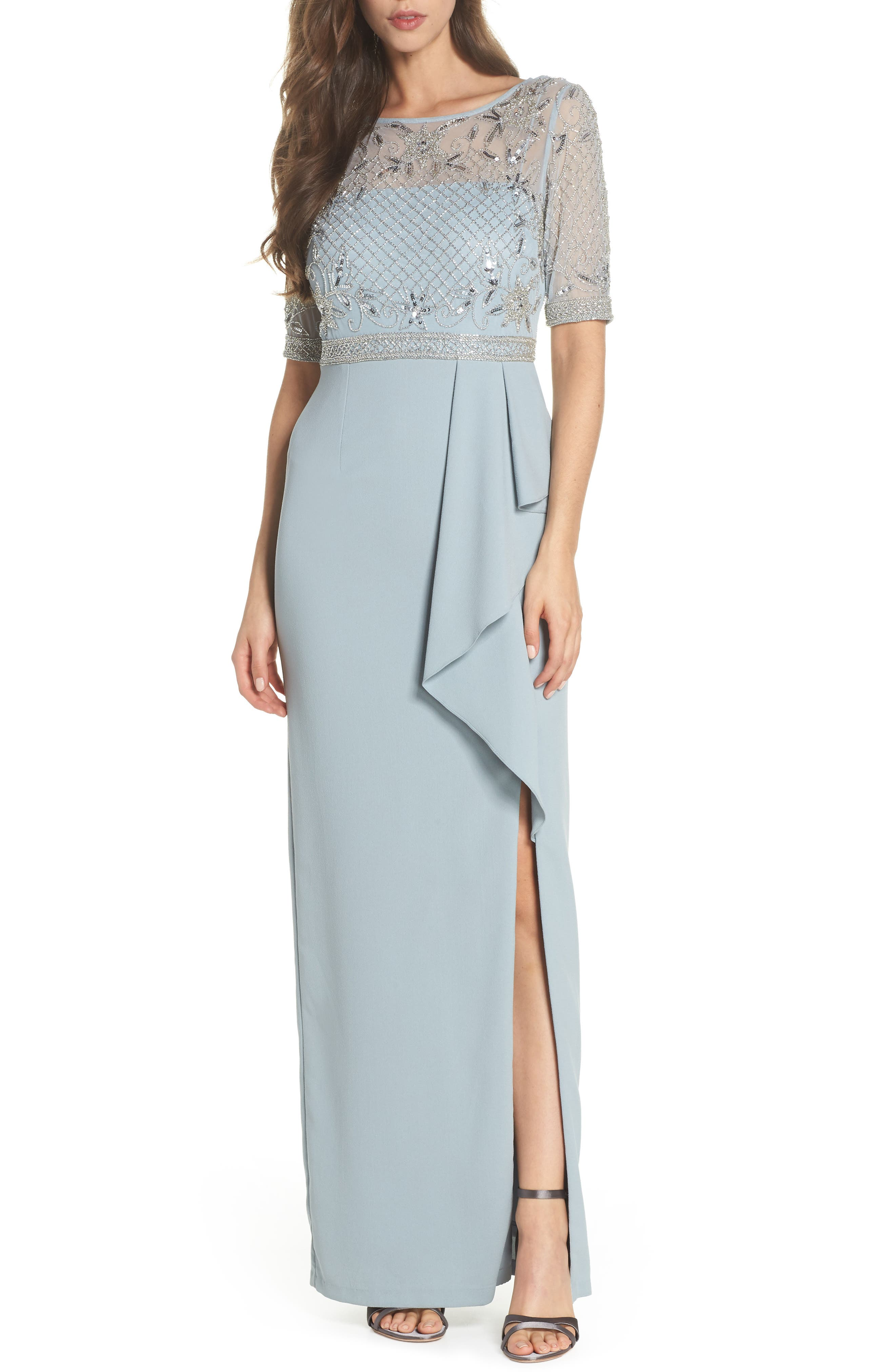 Beaded Gown,                             Main thumbnail 1, color,                             BLUE HEATHER