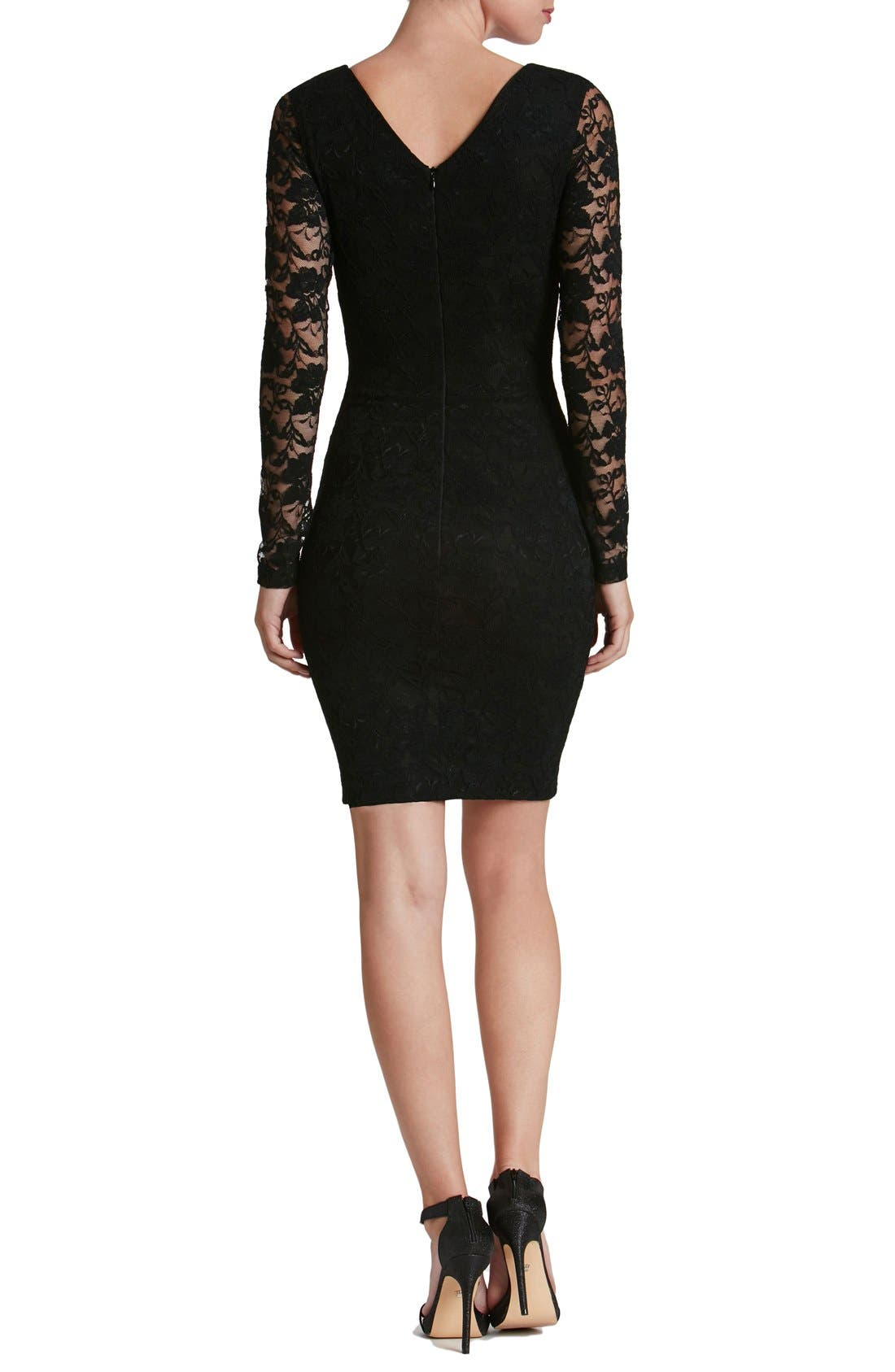 'Erica' Plunge Neck Lace Body-Con Dress,                             Alternate thumbnail 2, color,                             008