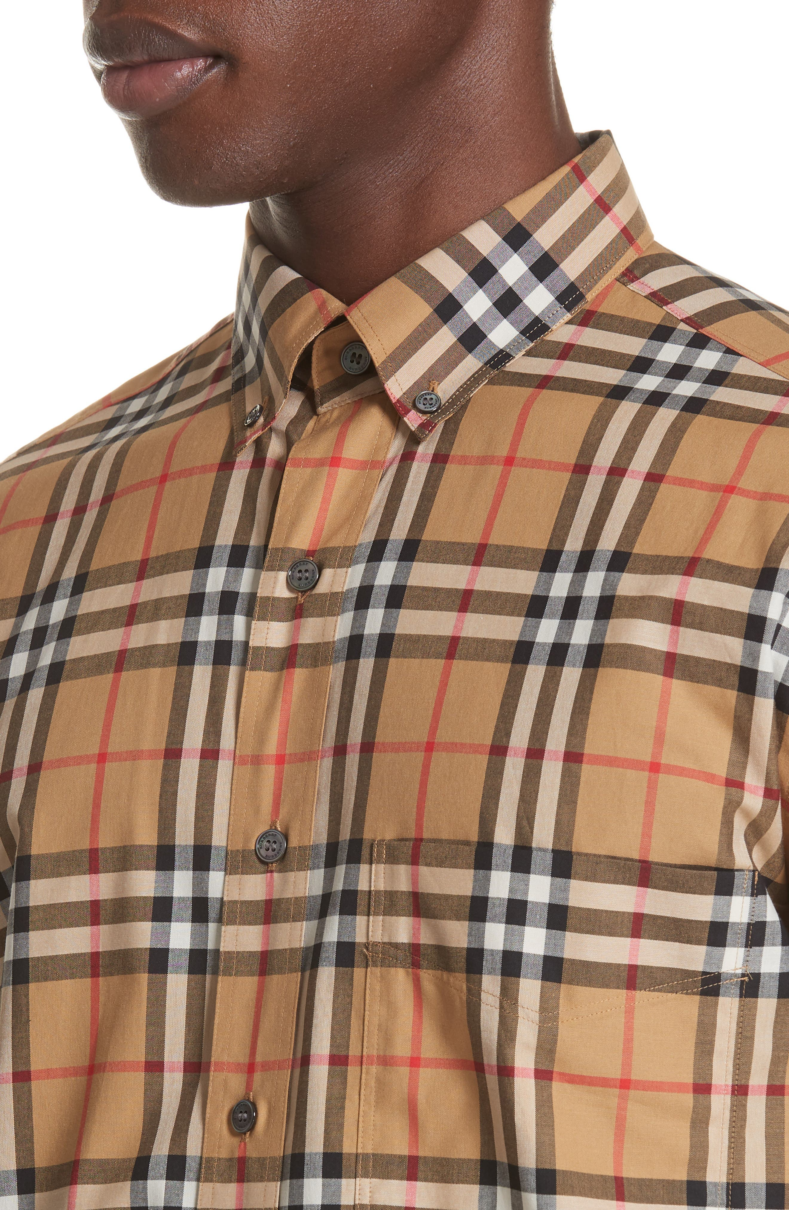 Jameson Woven Check Sport Shirt,                             Alternate thumbnail 4, color,                             ANTIQUE YELLOW