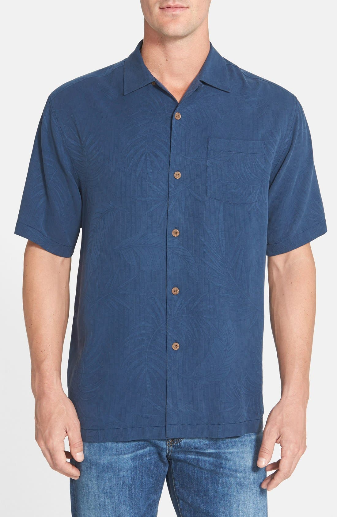 'Tiki Palms' Original Fit Jacquard Silk Camp Shirt,                             Main thumbnail 4, color,