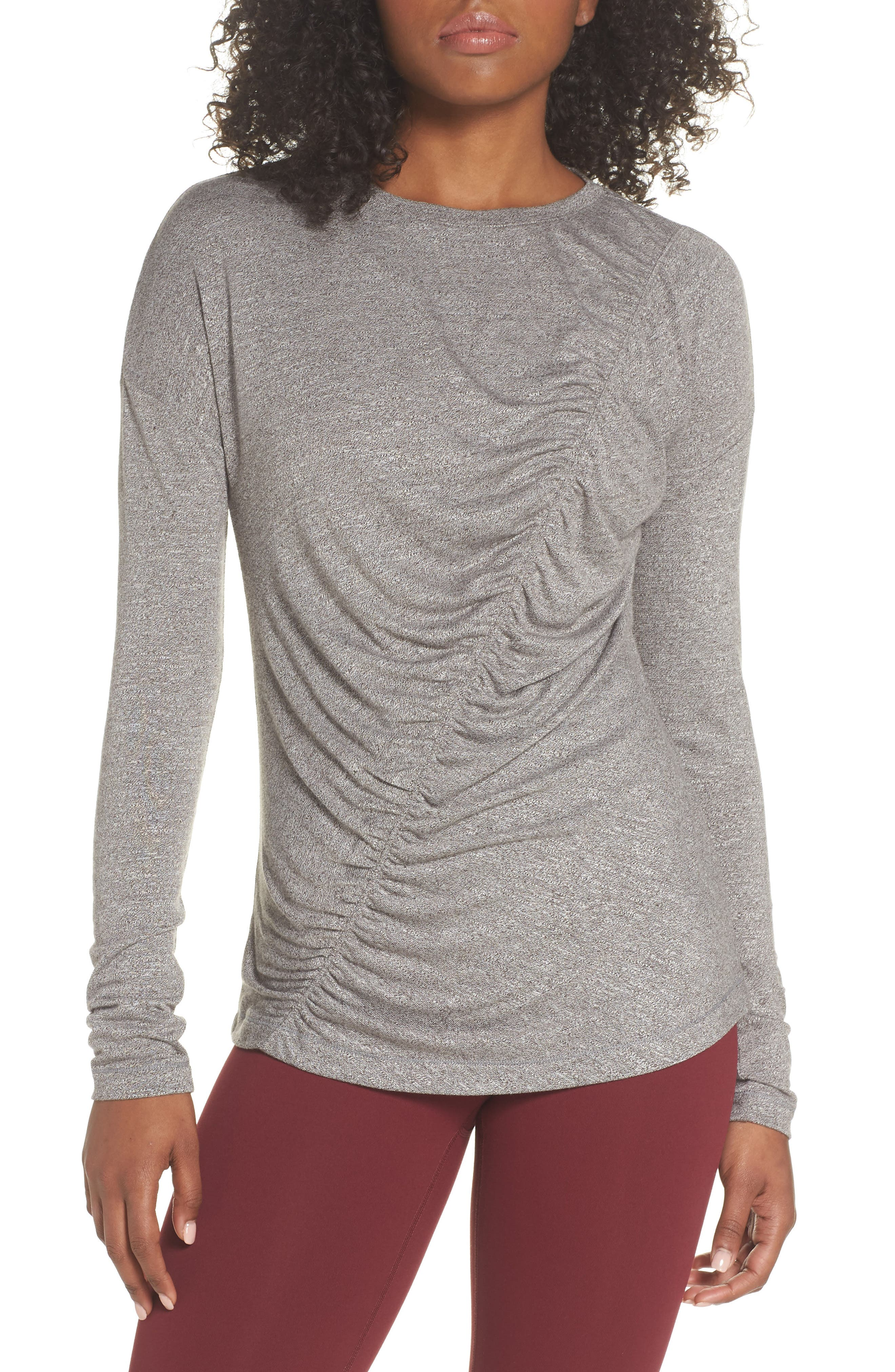 So Graceful Ruched Tee,                         Main,                         color, GREY DARK HEATHER