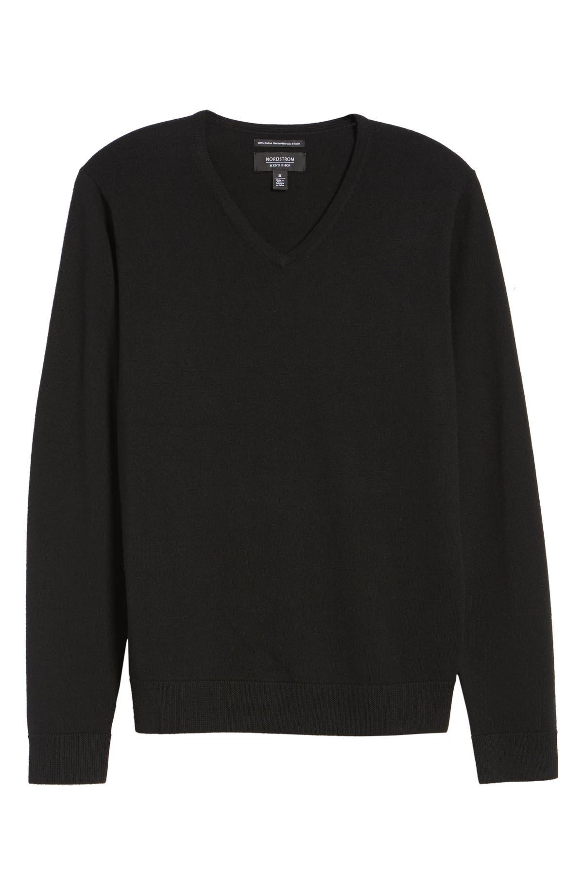 Nordstrom Men\'s Shop V-Neck Merino Wool Sweater (Regular & Tall ...