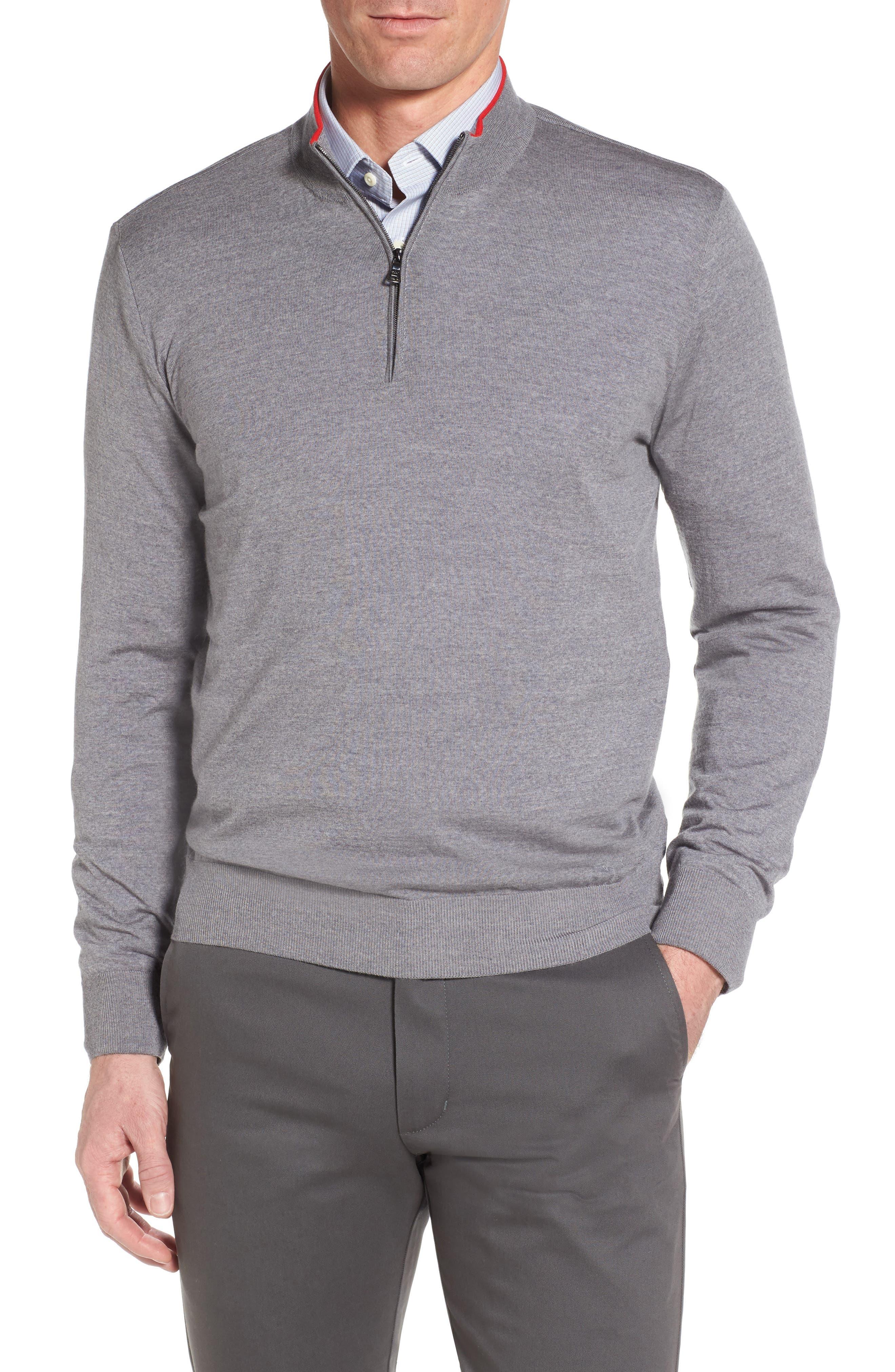 Paul&Shark Quarter Zip Wool Pullover,                         Main,                         color, 020