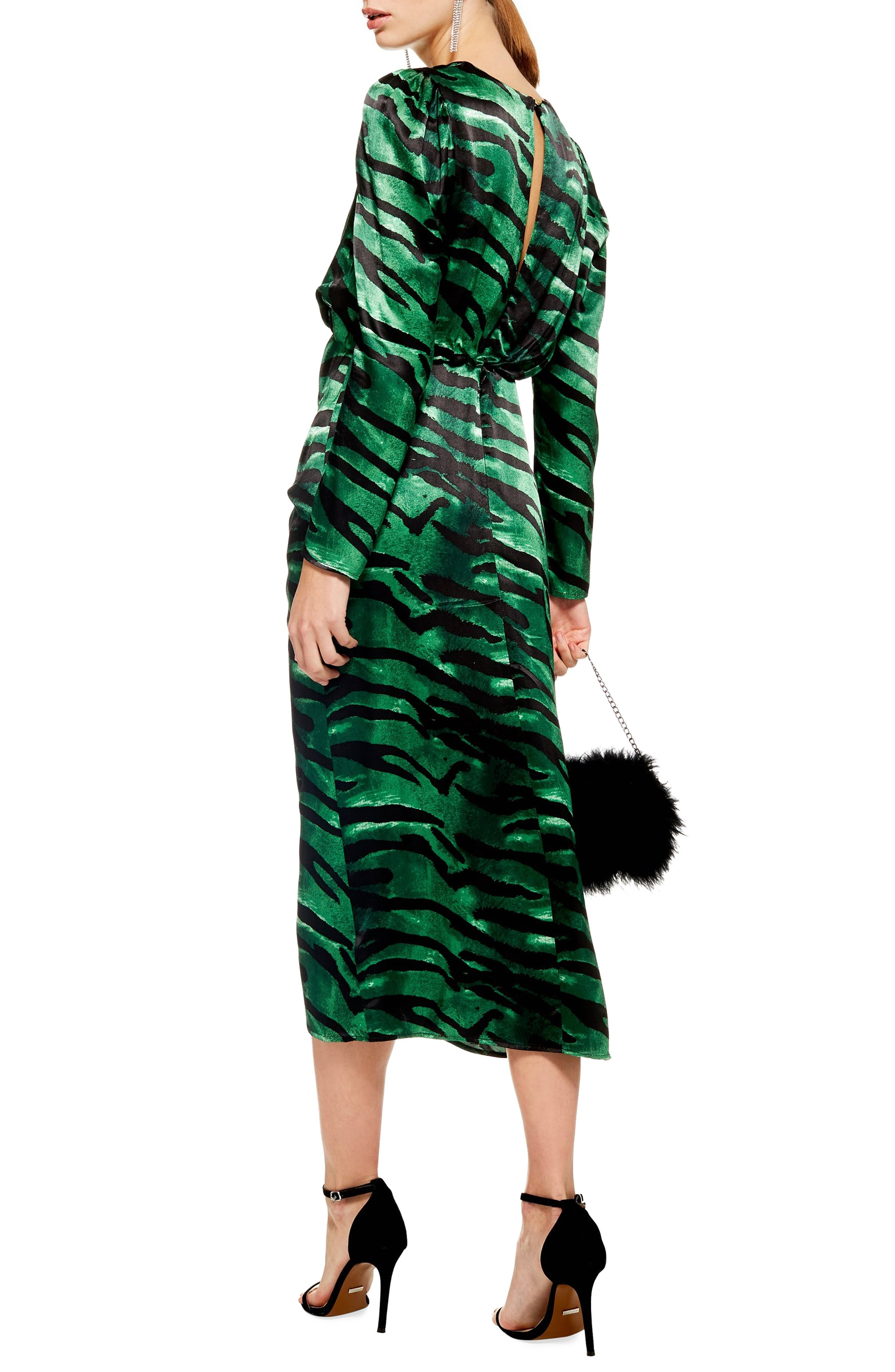 Ruched Long Sleeve Dress,                             Alternate thumbnail 2, color,                             GREEN MULTI